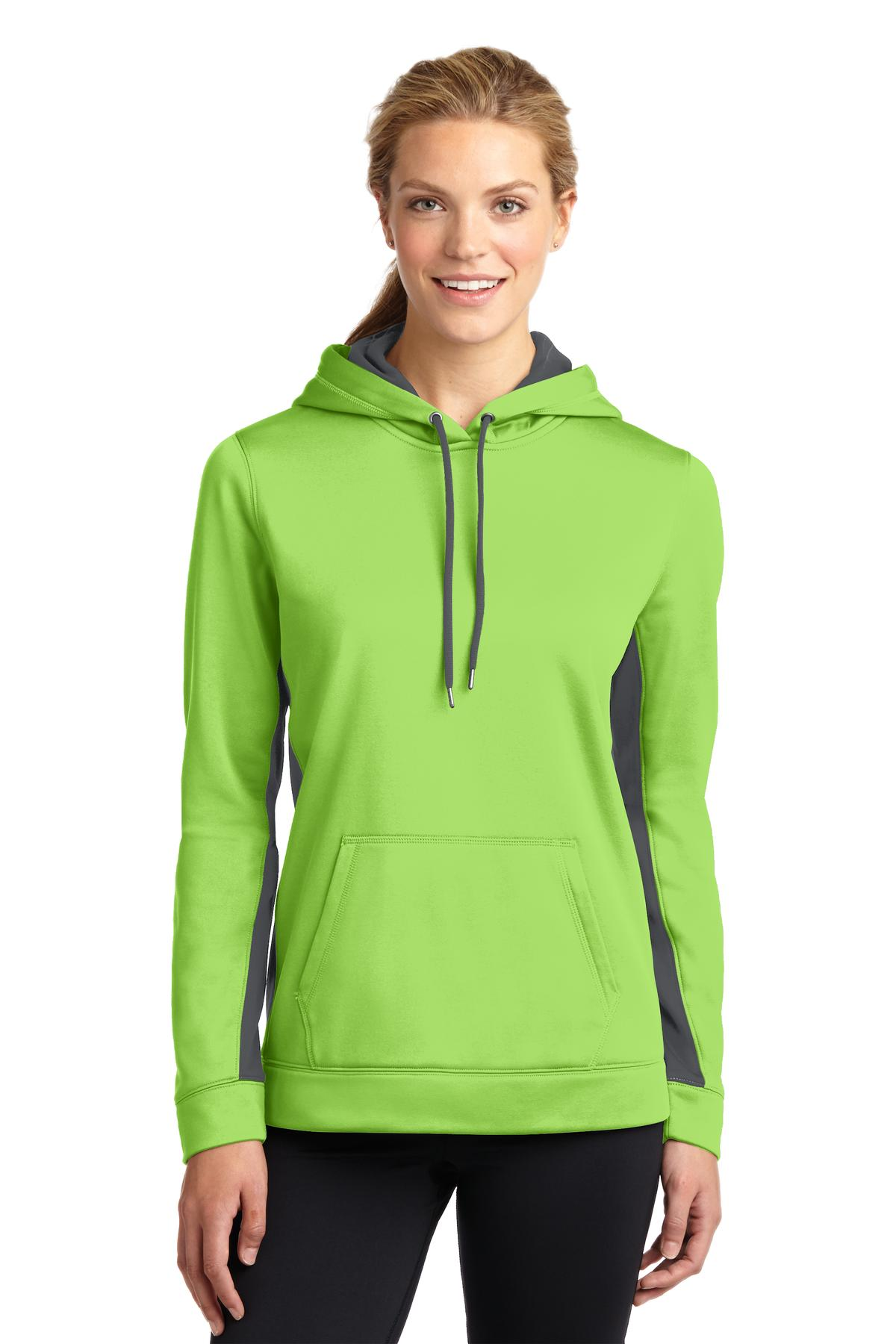 Sport-Tek ®  Ladies Sport-Wick ®  Fleece Colorblock Hooded Pullover. LST235 - Lime Shock/ Dark Smoke Grey