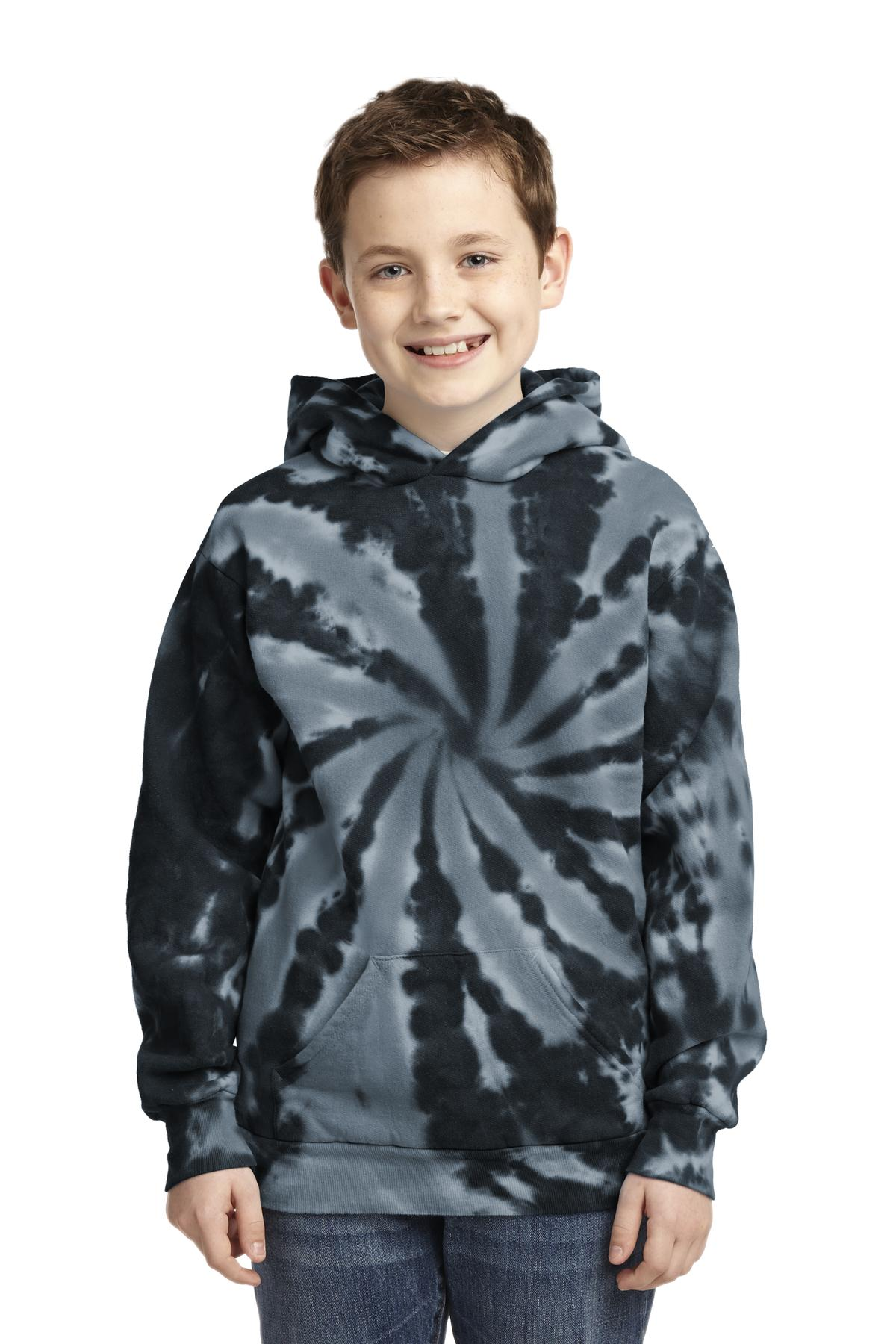 Port & Company ®  Youth Tie-Dye Pullover Hooded Sweatshirt. PC146Y - Black