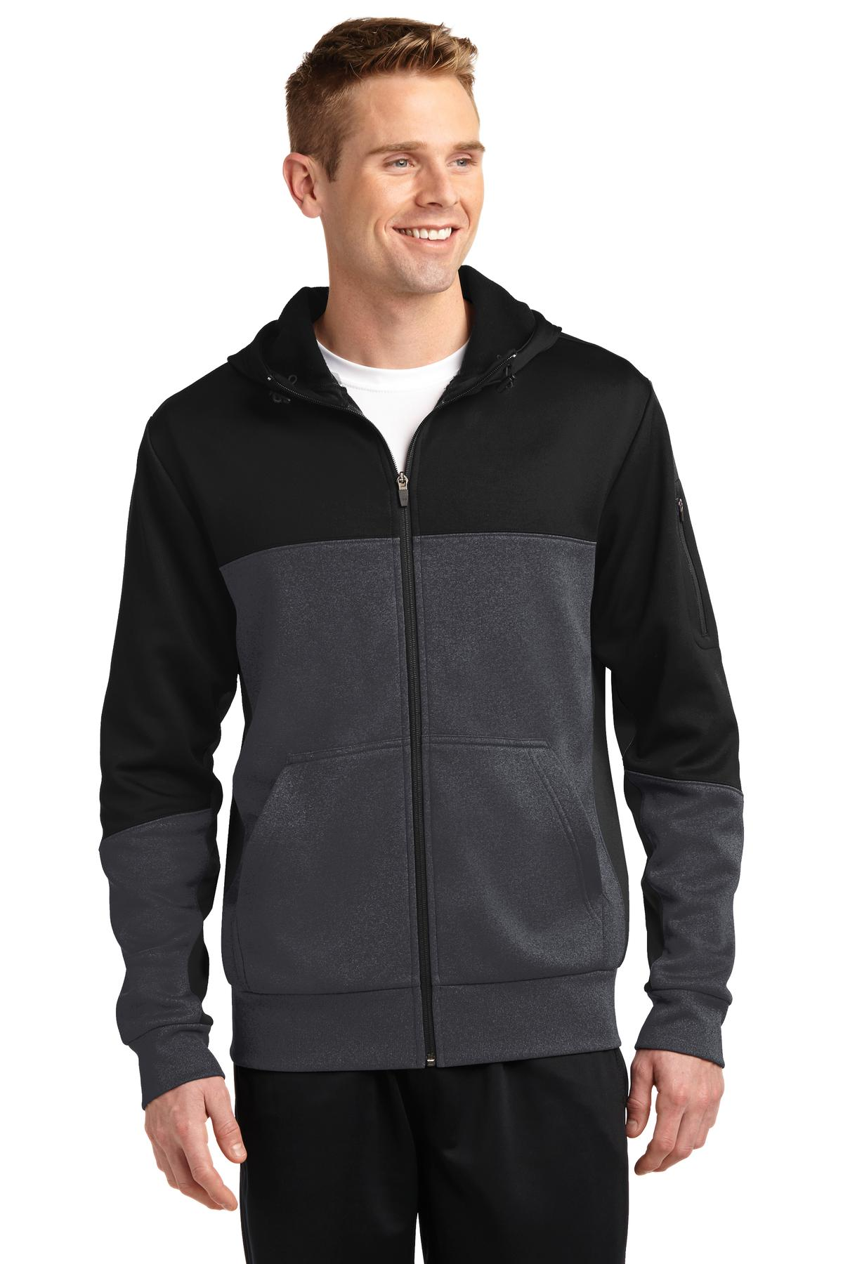Sport-Tek ®  Tech Fleece Colorblock Full-Zip Hooded Jacket. ST245 - Black/ Graphite Heather/ Black