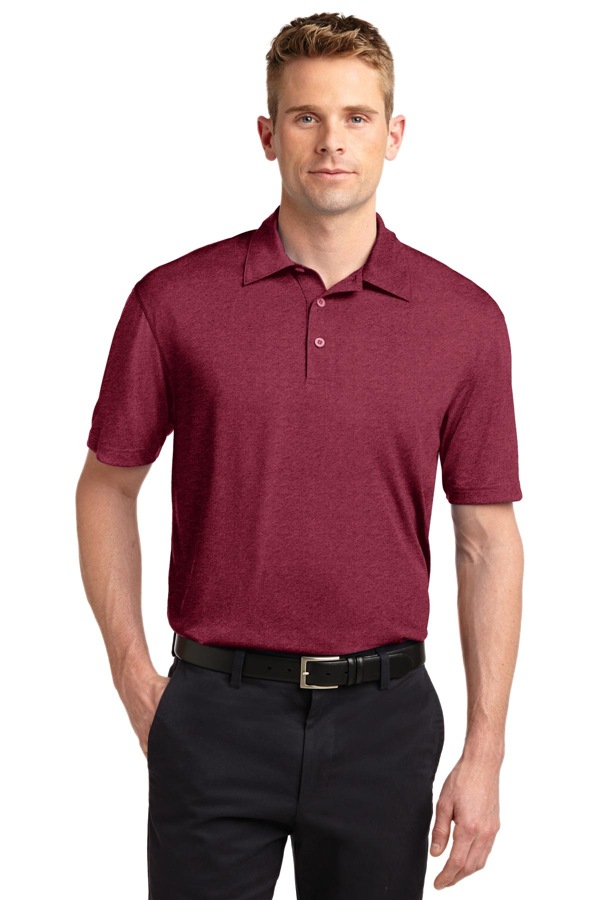 Sport-Tek ®  Heather Contender™ Polo. ST660 - Cardinal Heather