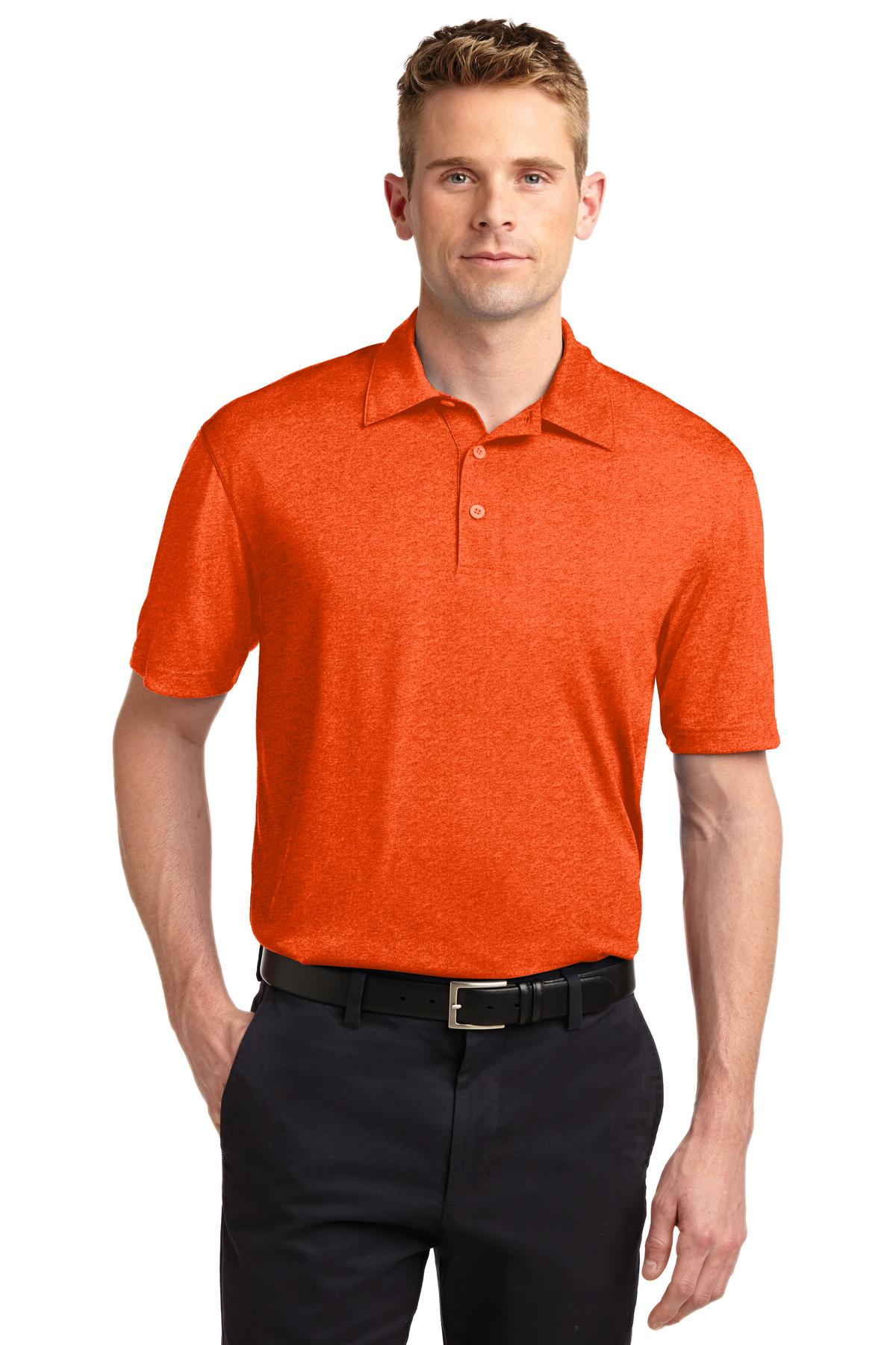 Sport-Tek ®  Heather Contender™ Polo. ST660 - Deep Orange Heather