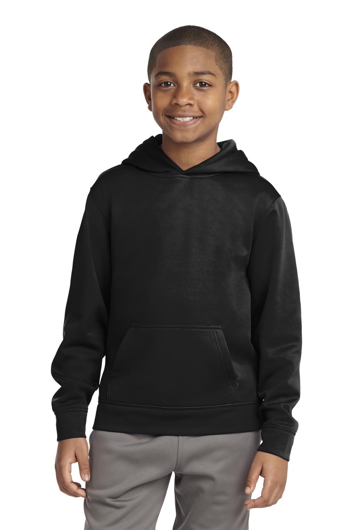 Sport-Tek ®  Youth Sport-Wick ®  Fleece Hooded Pullover. YST244 - Black