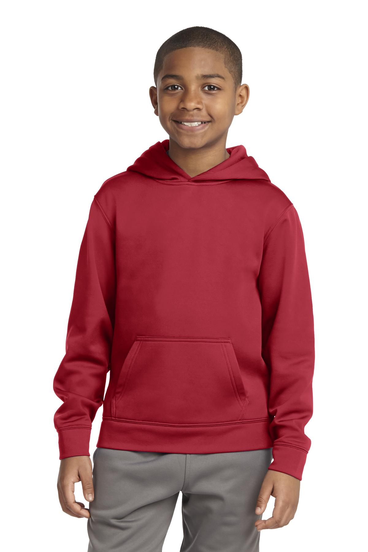 Sport-Tek ®  Youth Sport-Wick ®  Fleece Hooded Pullover. YST244 - Deep Red