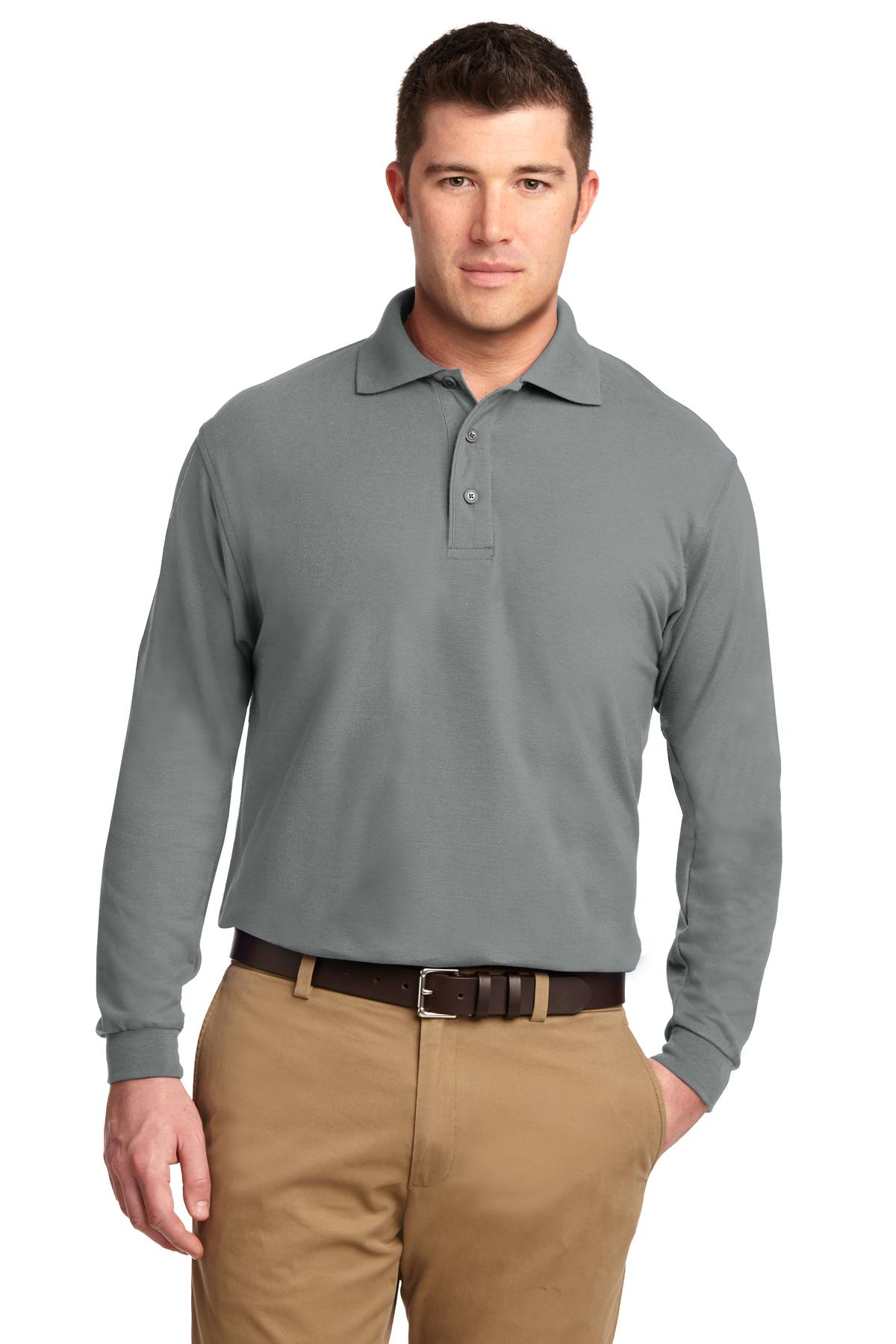 Port Authority ®  Silk Touch™ Long Sleeve Polo.  K500LS - Cool Grey