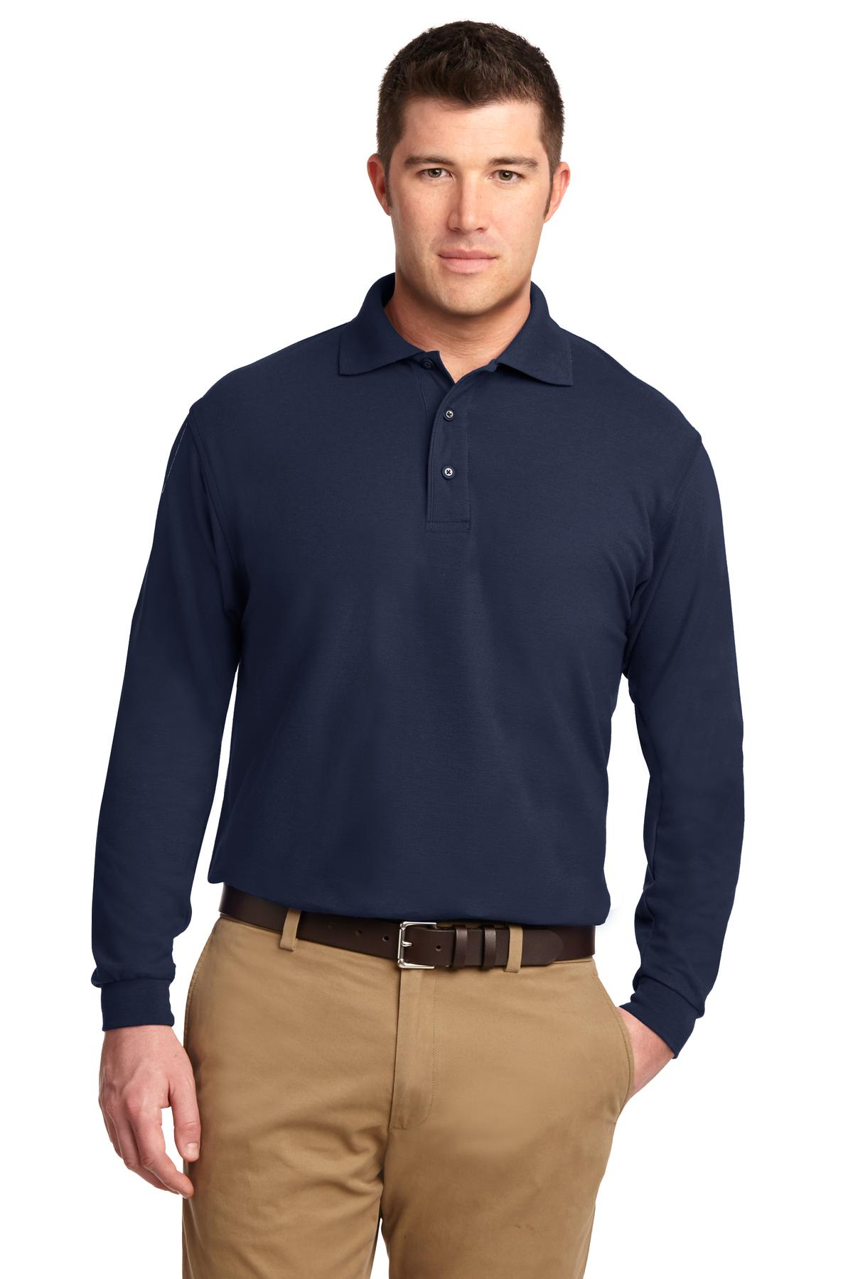 Port Authority ®  Silk Touch™ Long Sleeve Polo.  K500LS - Navy