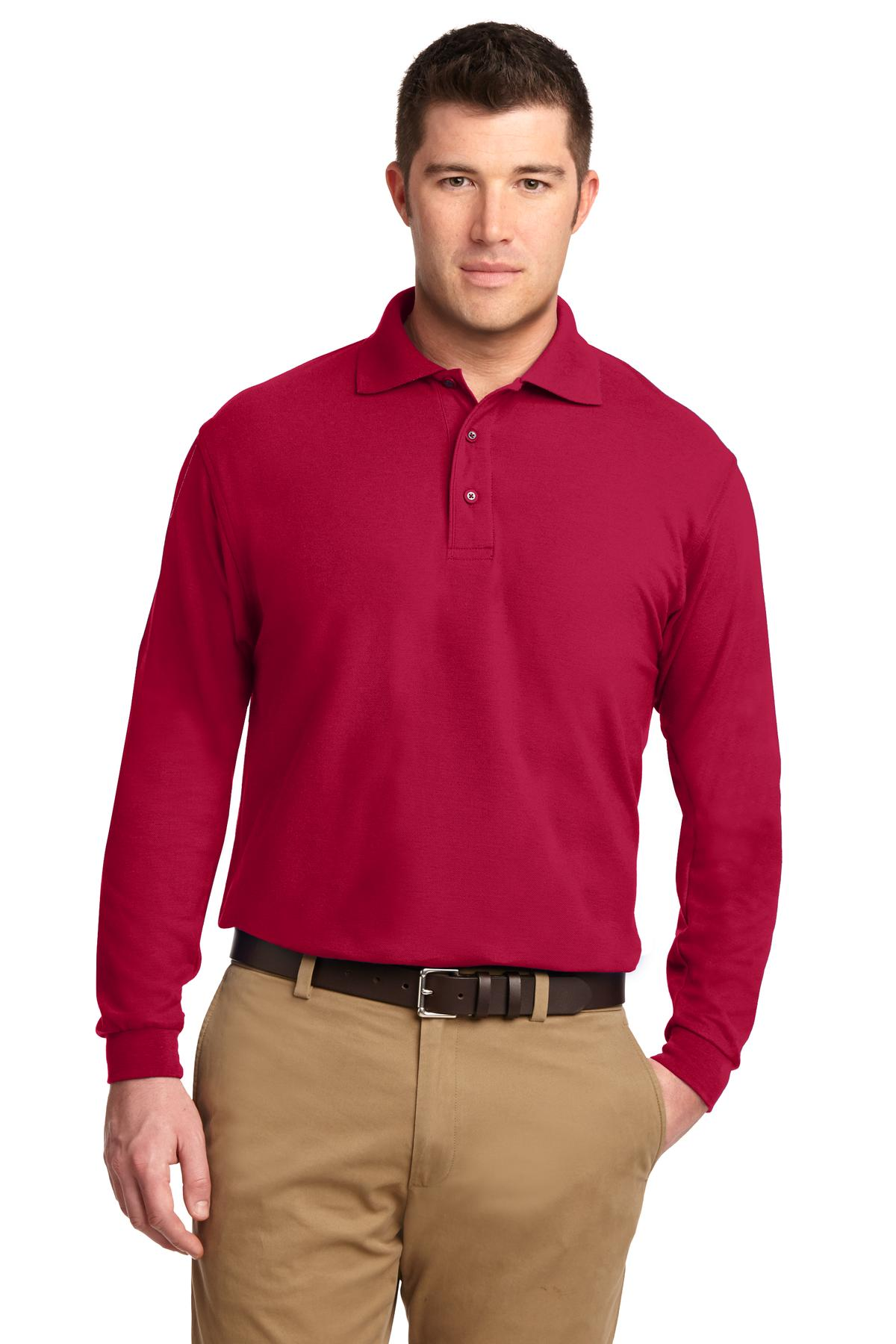 Port Authority ®  Silk Touch™ Long Sleeve Polo.  K500LS - Red