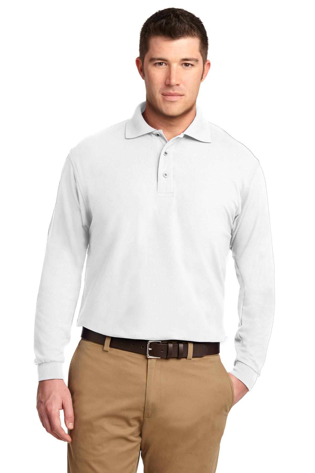 Port Authority ®  Silk Touch™ Long Sleeve Polo.  K500LS - White