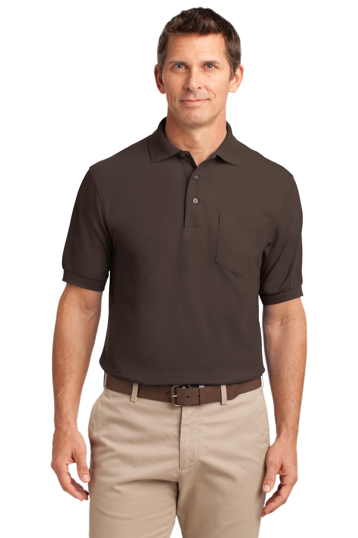 Port Authority ®  Silk Touch™ Polo with Pocket.  K500P - Coffee Bean
