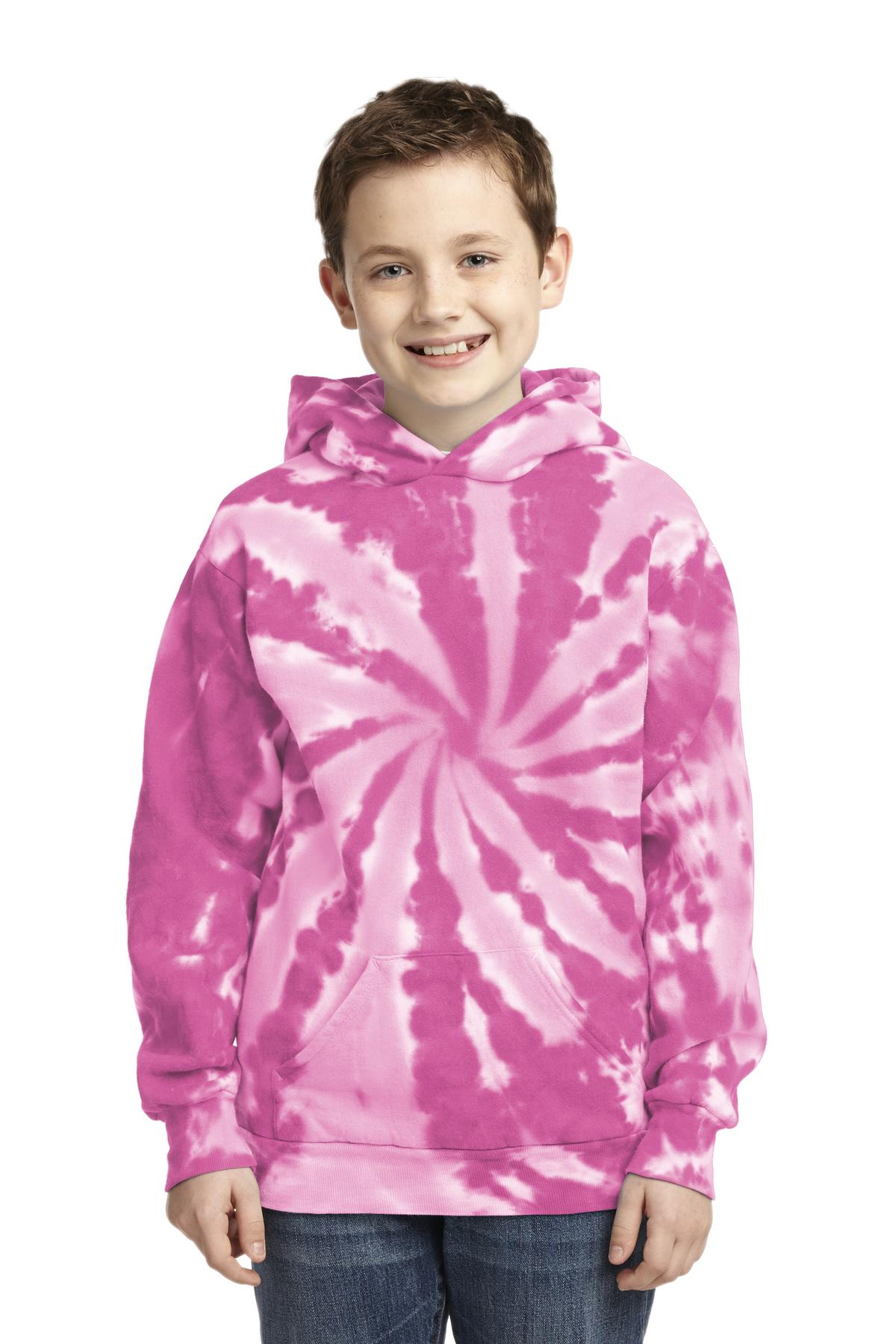 Port & Company ®  Youth Tie-Dye Pullover Hooded Sweatshirt. PC146Y - Pink