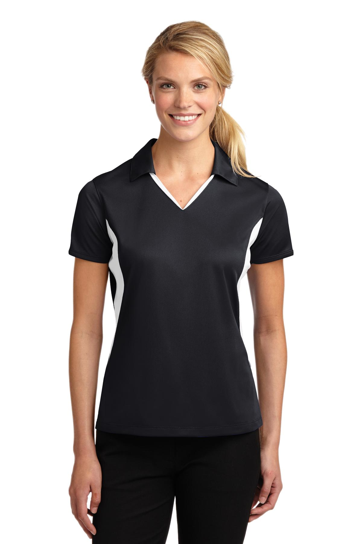 Sport-Tek ®  Ladies Side Blocked Micropique Sport-Wick ®  Polo. LST655 - Black/White