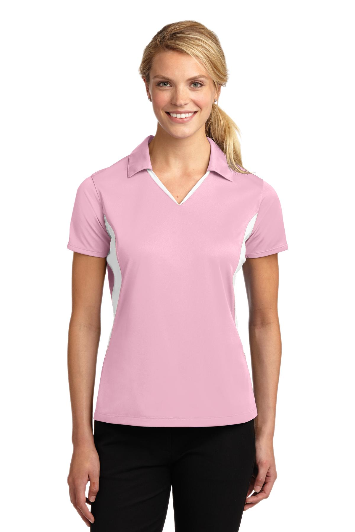 Sport-Tek ®  Ladies Side Blocked Micropique Sport-Wick ®  Polo. LST655 - Light Pink/White