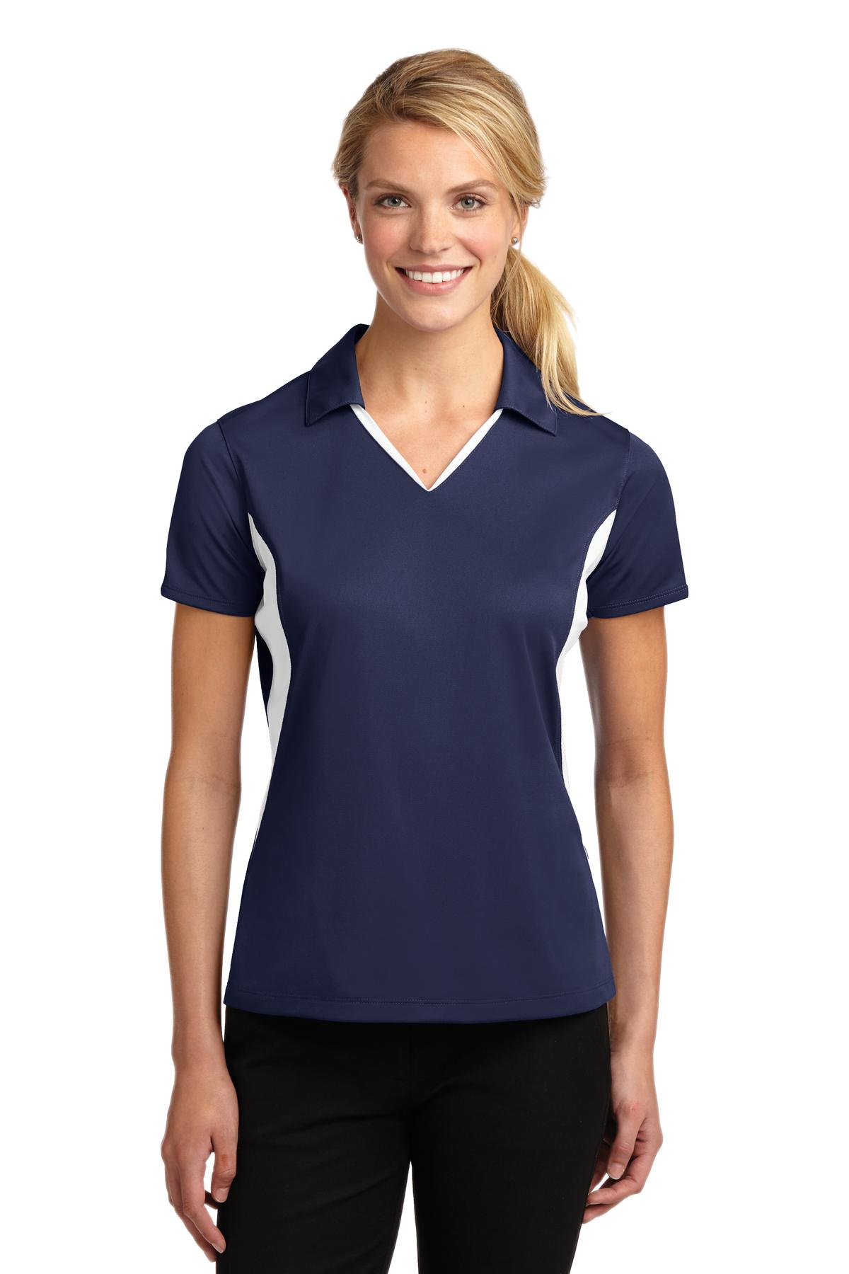 Sport-Tek ®  Ladies Side Blocked Micropique Sport-Wick ®  Polo. LST655 - True Navy/White