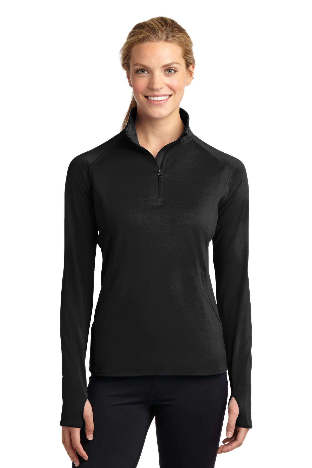 Sport-Tek ®  Ladies Sport-Wick ®  Stretch 1/2-Zip Pullover. LST850 - Black