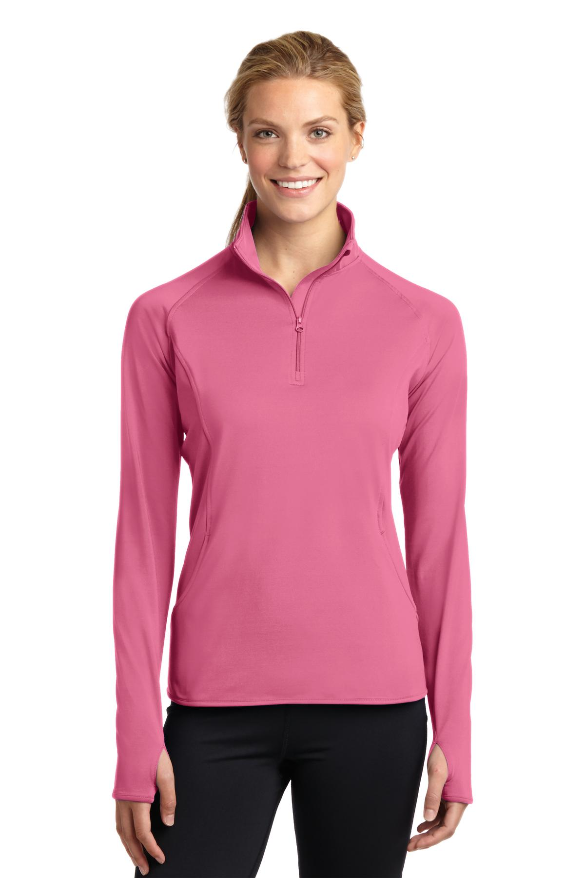 Sport-Tek ®  Ladies Sport-Wick ®  Stretch 1/2-Zip Pullover. LST850 - Dusty Rose