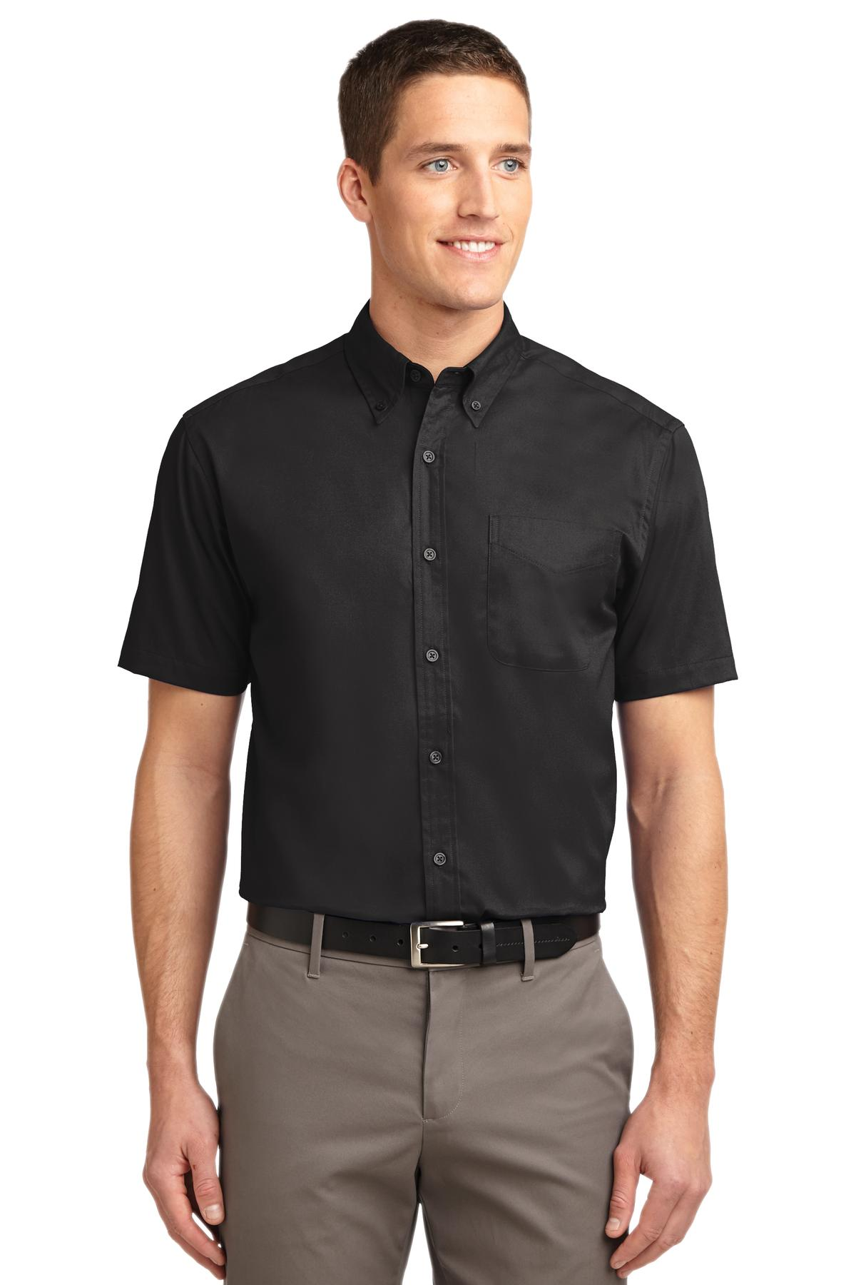 Port Authority ®  Short Sleeve Easy Care Shirt.  S508 - Black/Light Stone