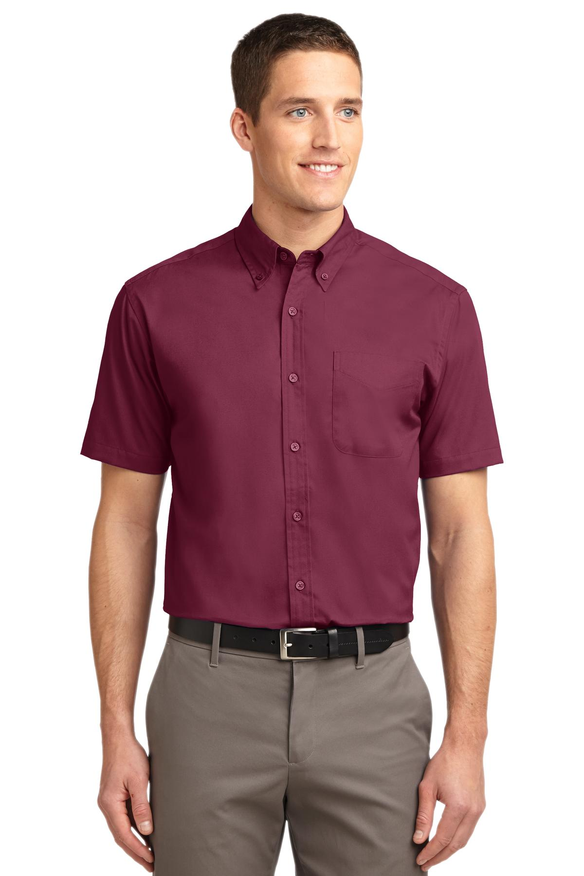 Port Authority ®  Short Sleeve Easy Care Shirt.  S508 - Burgundy/ Light Stone