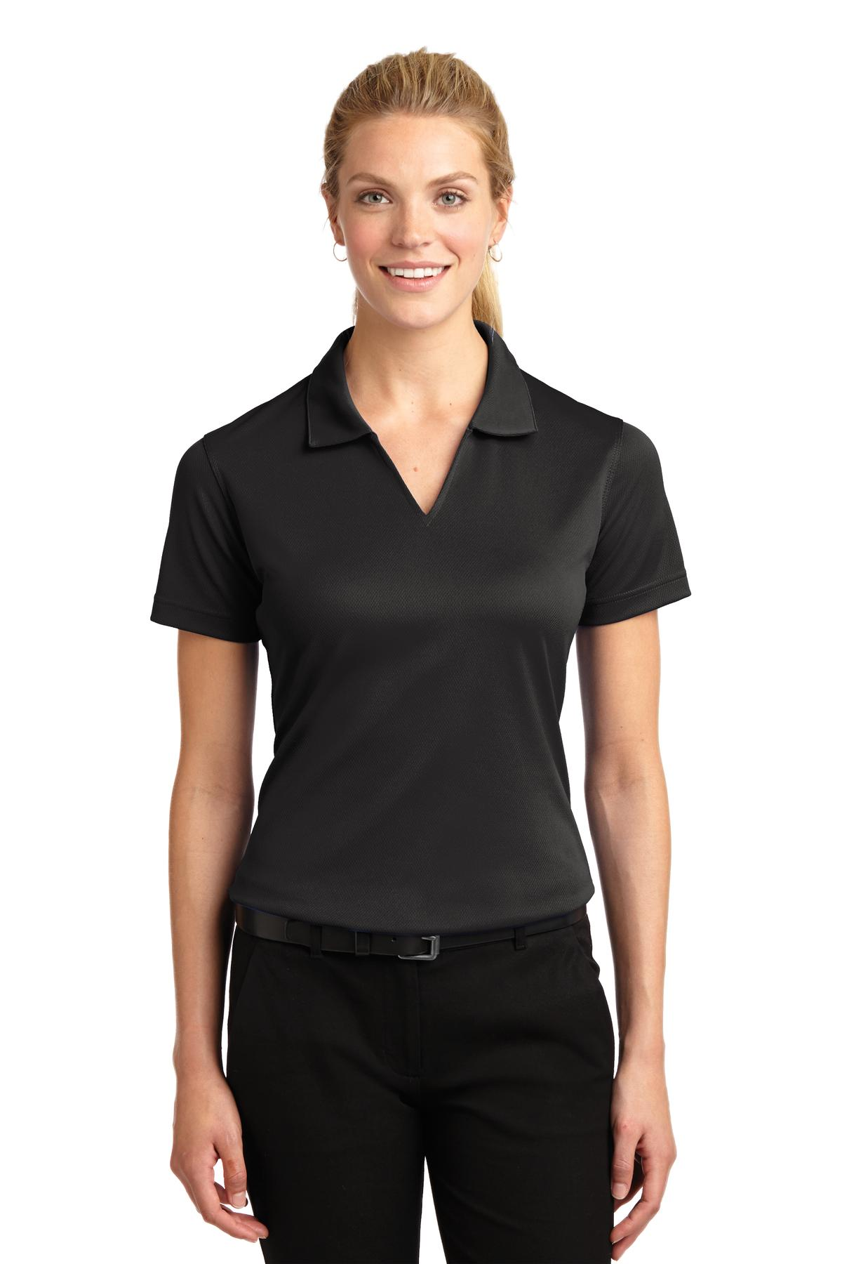 Sport-Tek ®  Ladies Dri-Mesh ®  V-Neck Polo.  L469 - Black