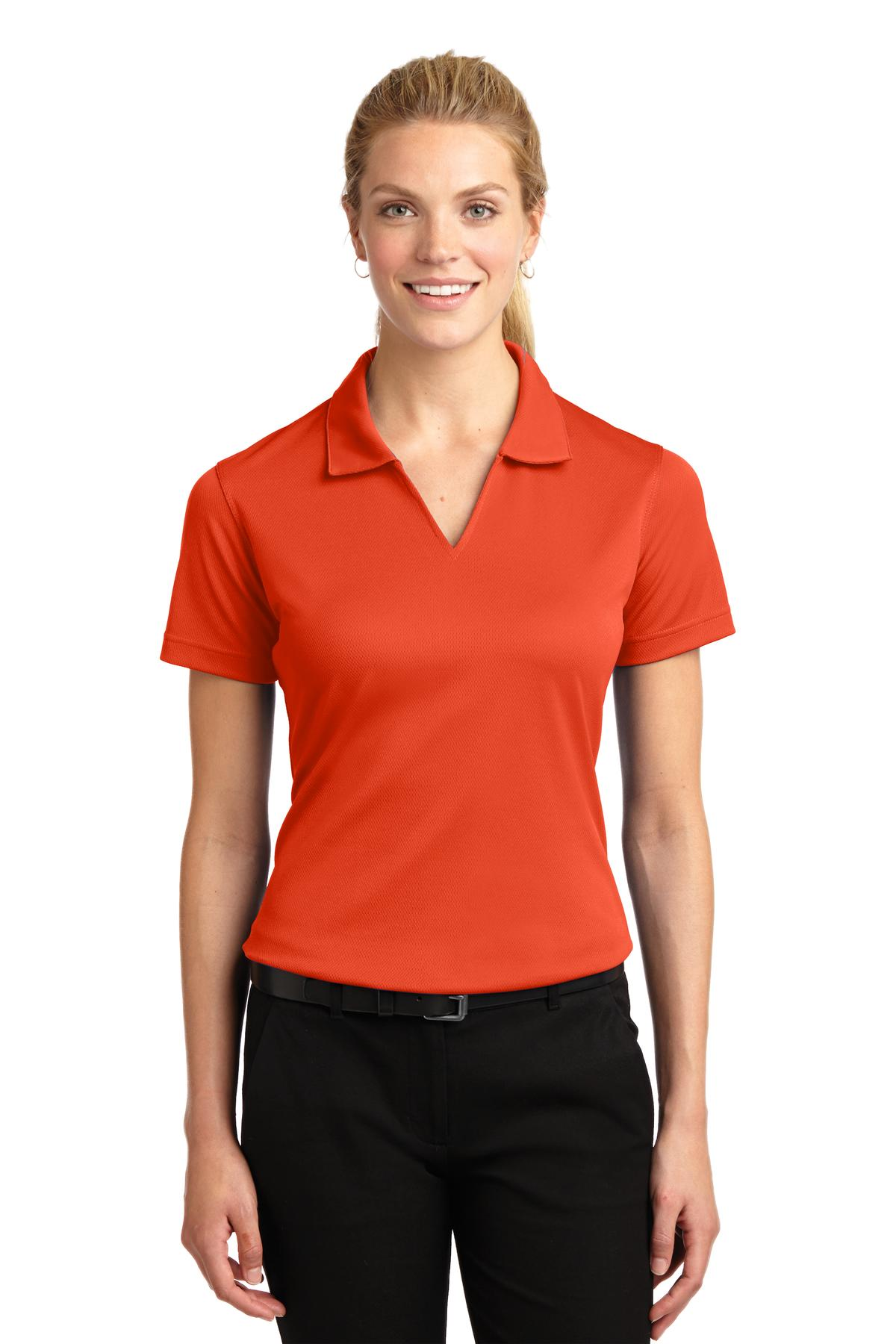 Sport-Tek ®  Ladies Dri-Mesh ®  V-Neck Polo.  L469 - Bright Orange