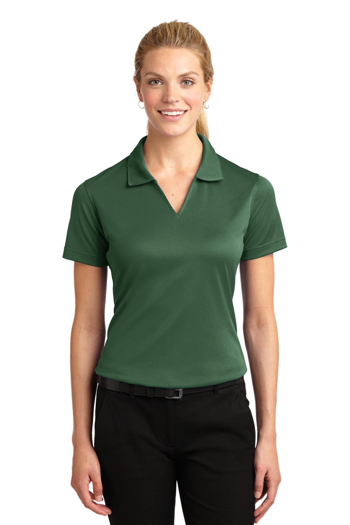 Sport-Tek ®  Ladies Dri-Mesh ®  V-Neck Polo.  L469 - Forest Green