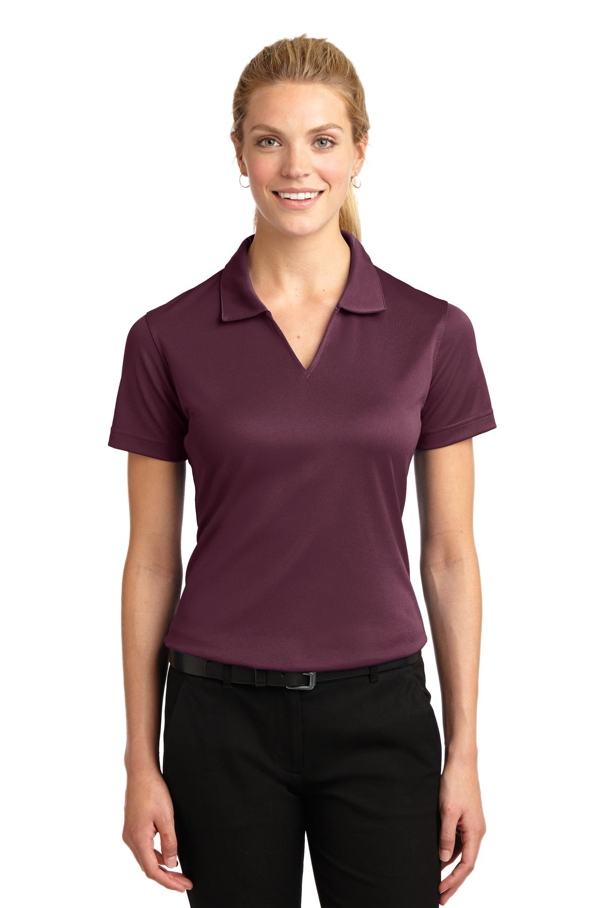 Sport-Tek ®  Ladies Dri-Mesh ®  V-Neck Polo.  L469 - Maroon