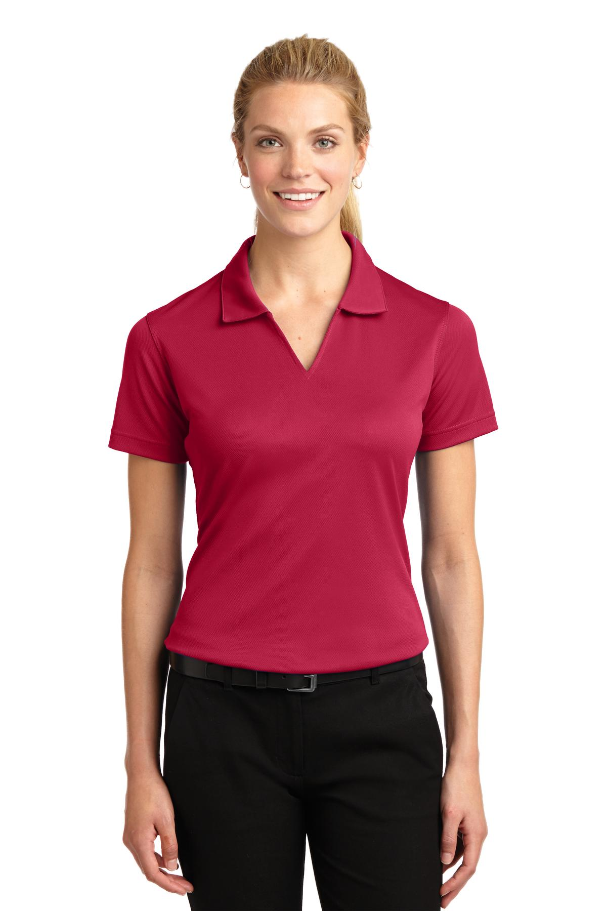 Sport-Tek ®  Ladies Dri-Mesh ®  V-Neck Polo.  L469 - Red