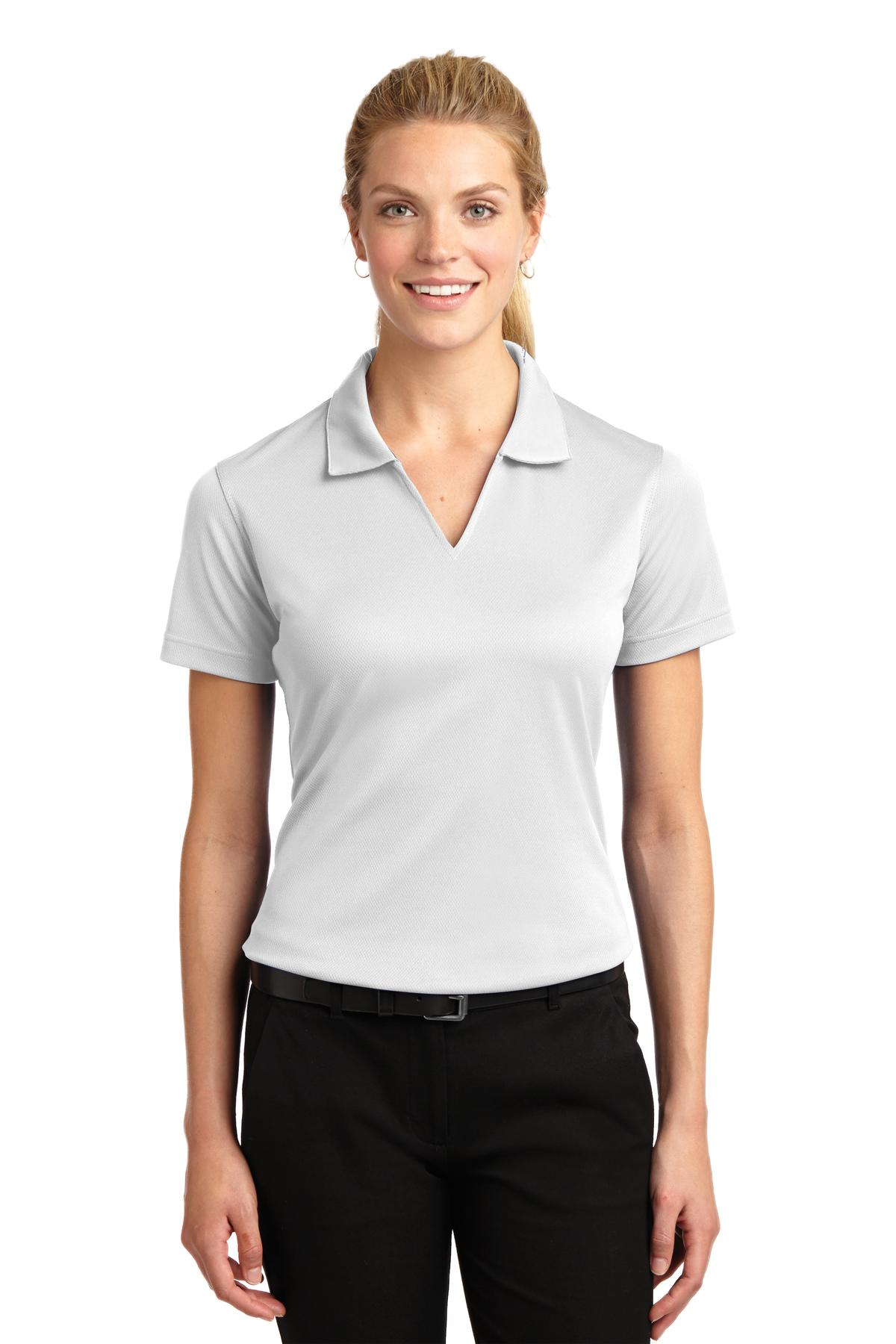 Sport-Tek ®  Ladies Dri-Mesh ®  V-Neck Polo.  L469 - White