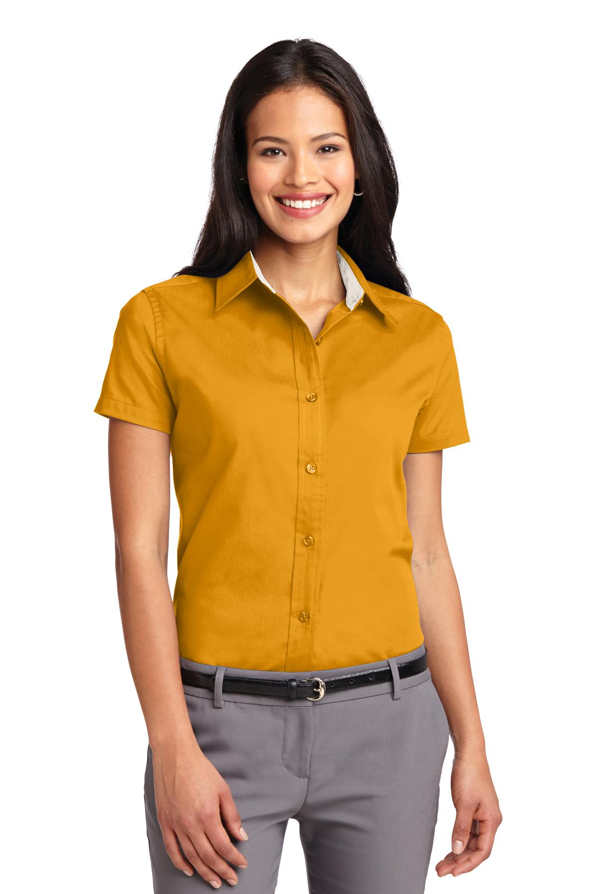 Port Authority ®  Ladies Short Sleeve Easy Care  Shirt.  L508 - Athletic Gold/ Light Stone