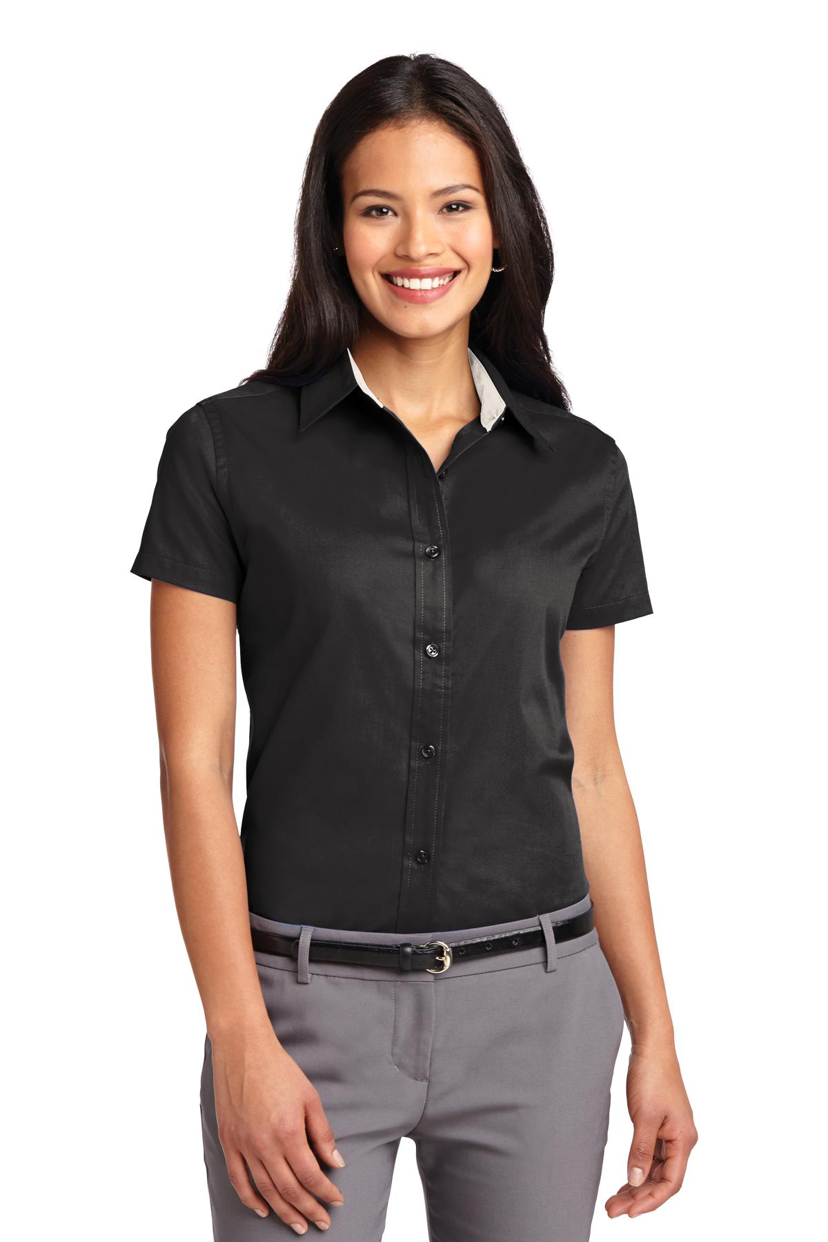 Port Authority ®  Ladies Short Sleeve Easy Care  Shirt.  L508 - Black/ Light Stone