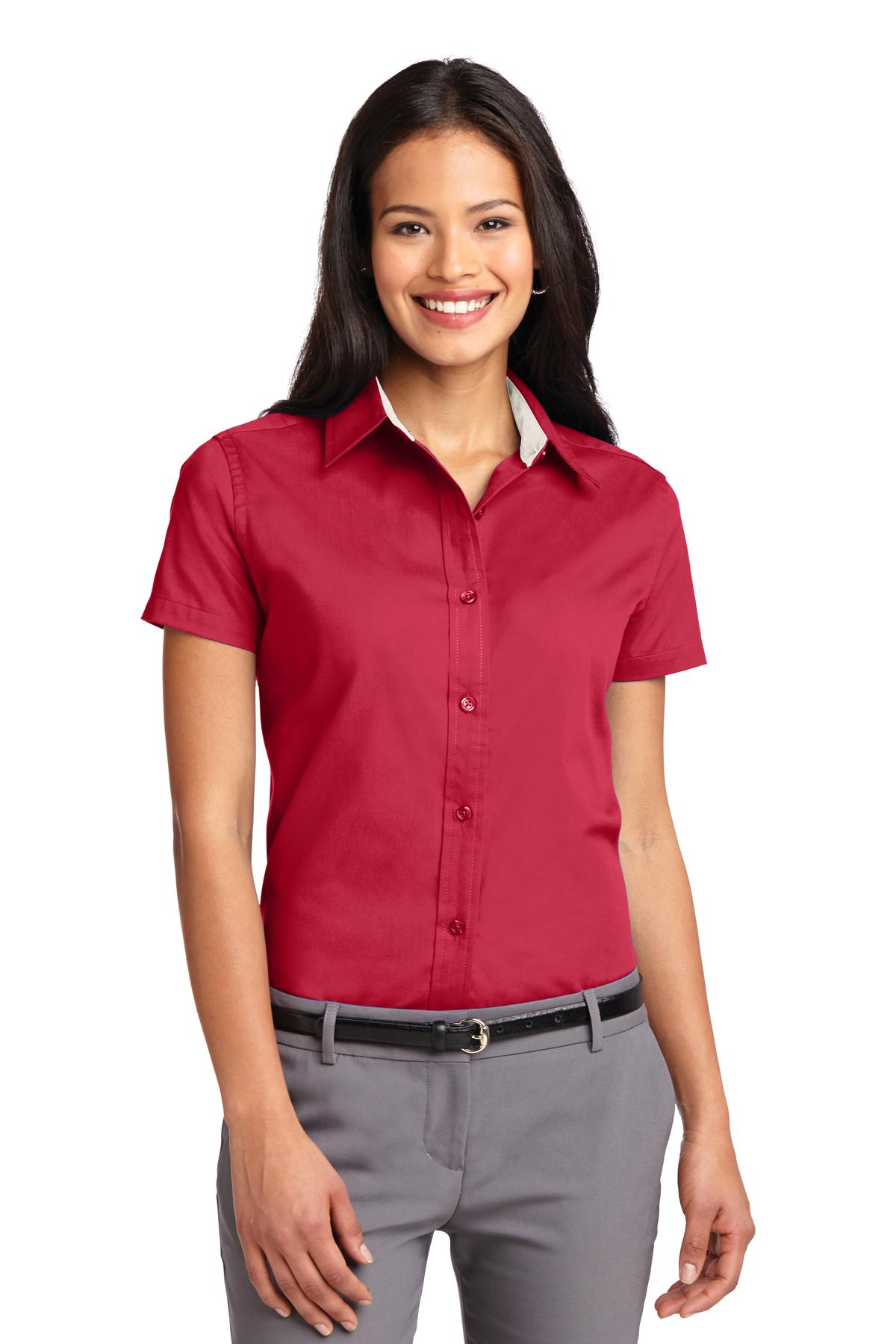 Port Authority ®  Ladies Short Sleeve Easy Care  Shirt.  L508 - Red/ Light Stone