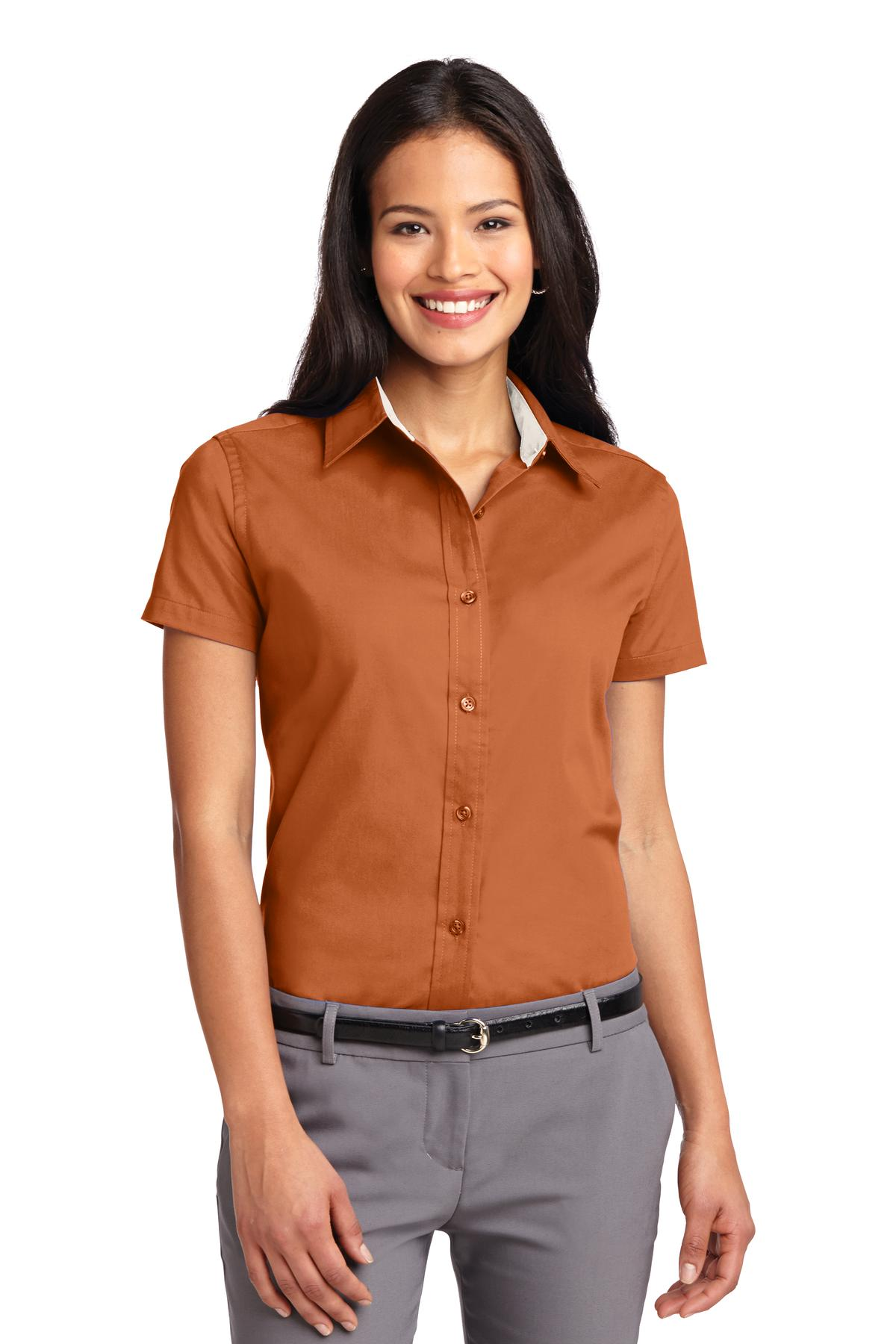 Port Authority ®  Ladies Short Sleeve Easy Care  Shirt.  L508 - Texas Orange/ Light Stone