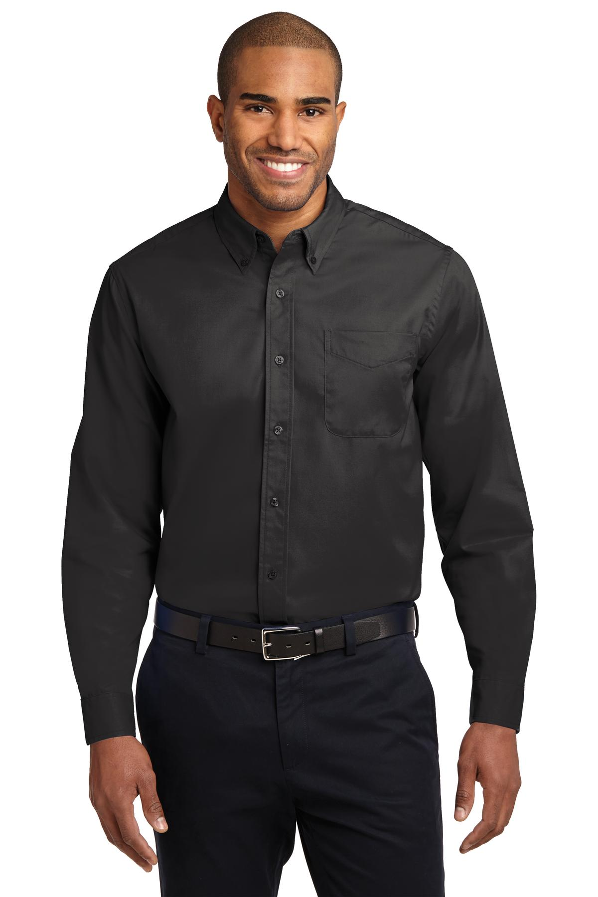 Port Authority ®  Long Sleeve Easy Care Shirt.  S608 - Black/ Light Stone