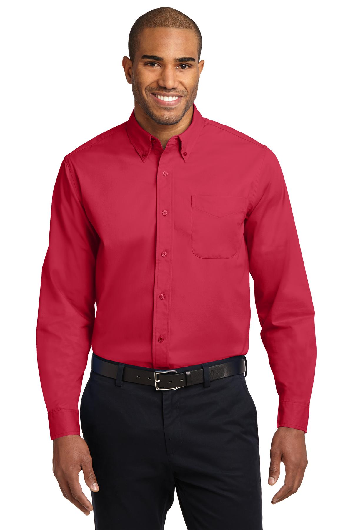 Port Authority ®  Long Sleeve Easy Care Shirt.  S608 - Red/ Light Stone