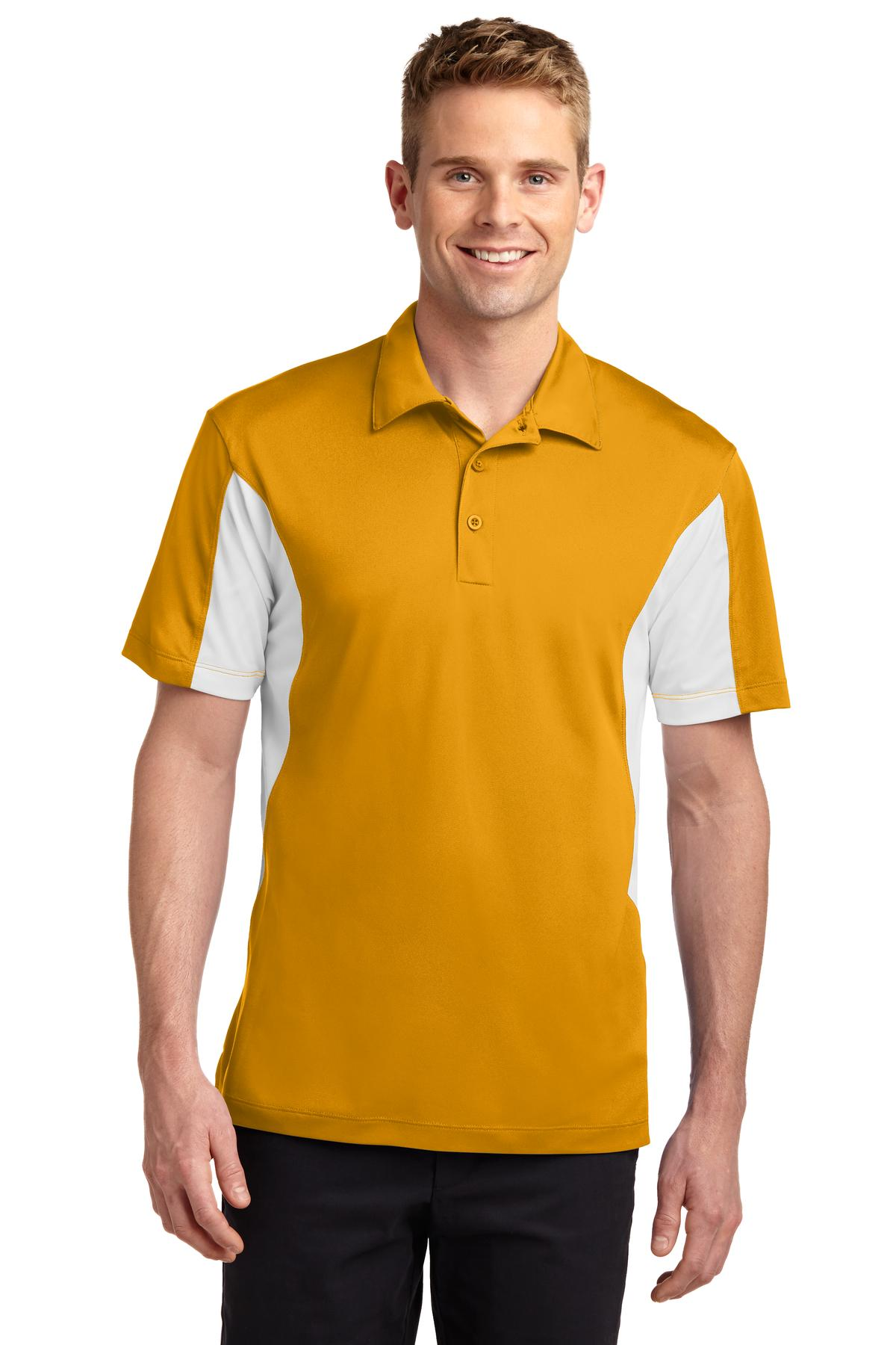Sport-Tek ®  Side Blocked Micropique Sport-Wick ®  Polo. ST655 - Gold/White