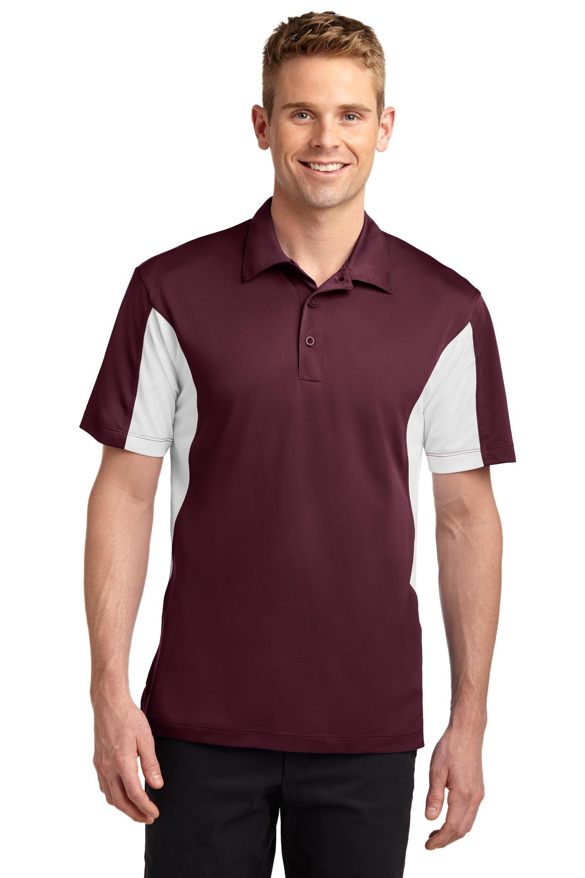 Sport-Tek ®  Side Blocked Micropique Sport-Wick ®  Polo. ST655 - Maroon/White