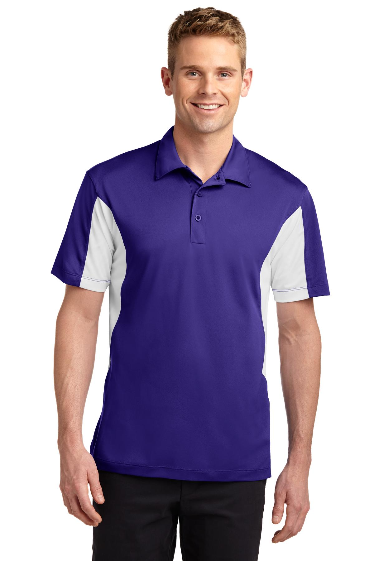 Sport-Tek ®  Side Blocked Micropique Sport-Wick ®  Polo. ST655 - Purple/White