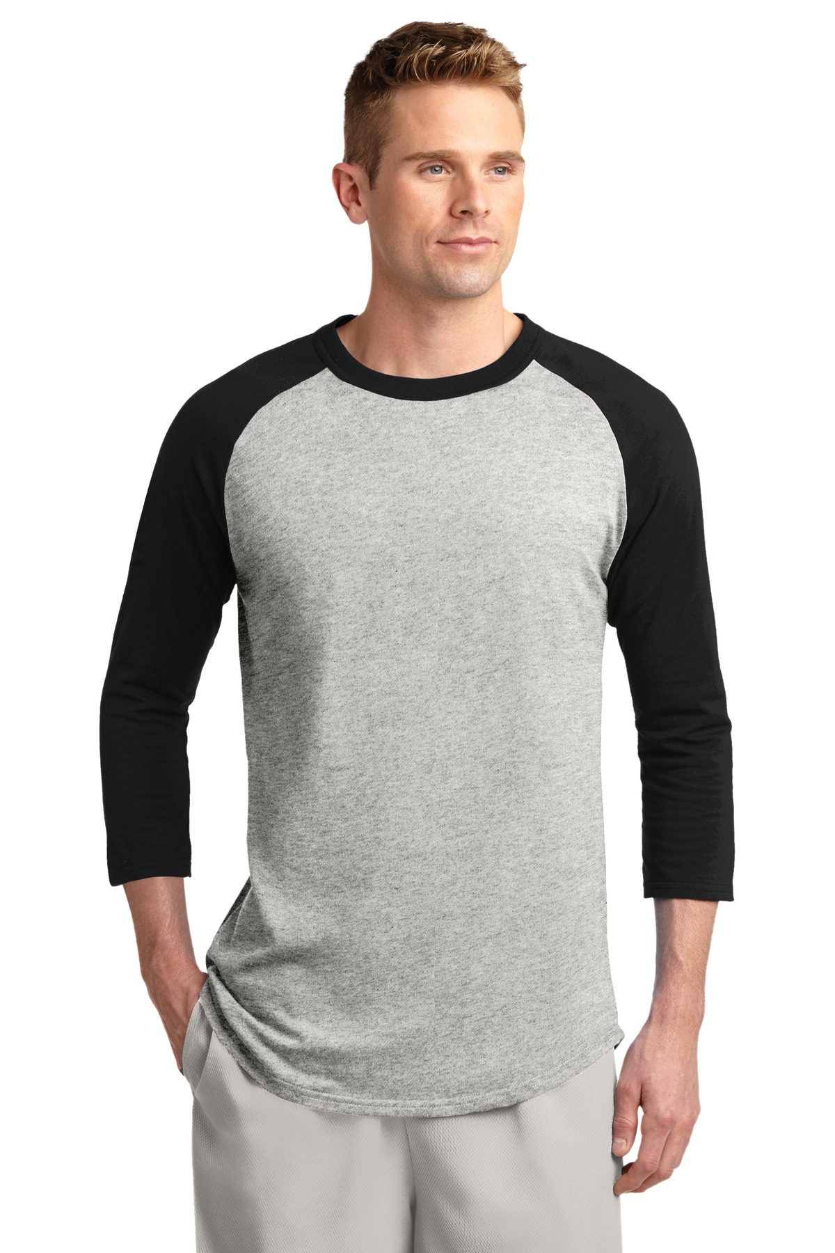 Sport-Tek ®  Colorblock Raglan Jersey.  T200 - Heather Grey/Black