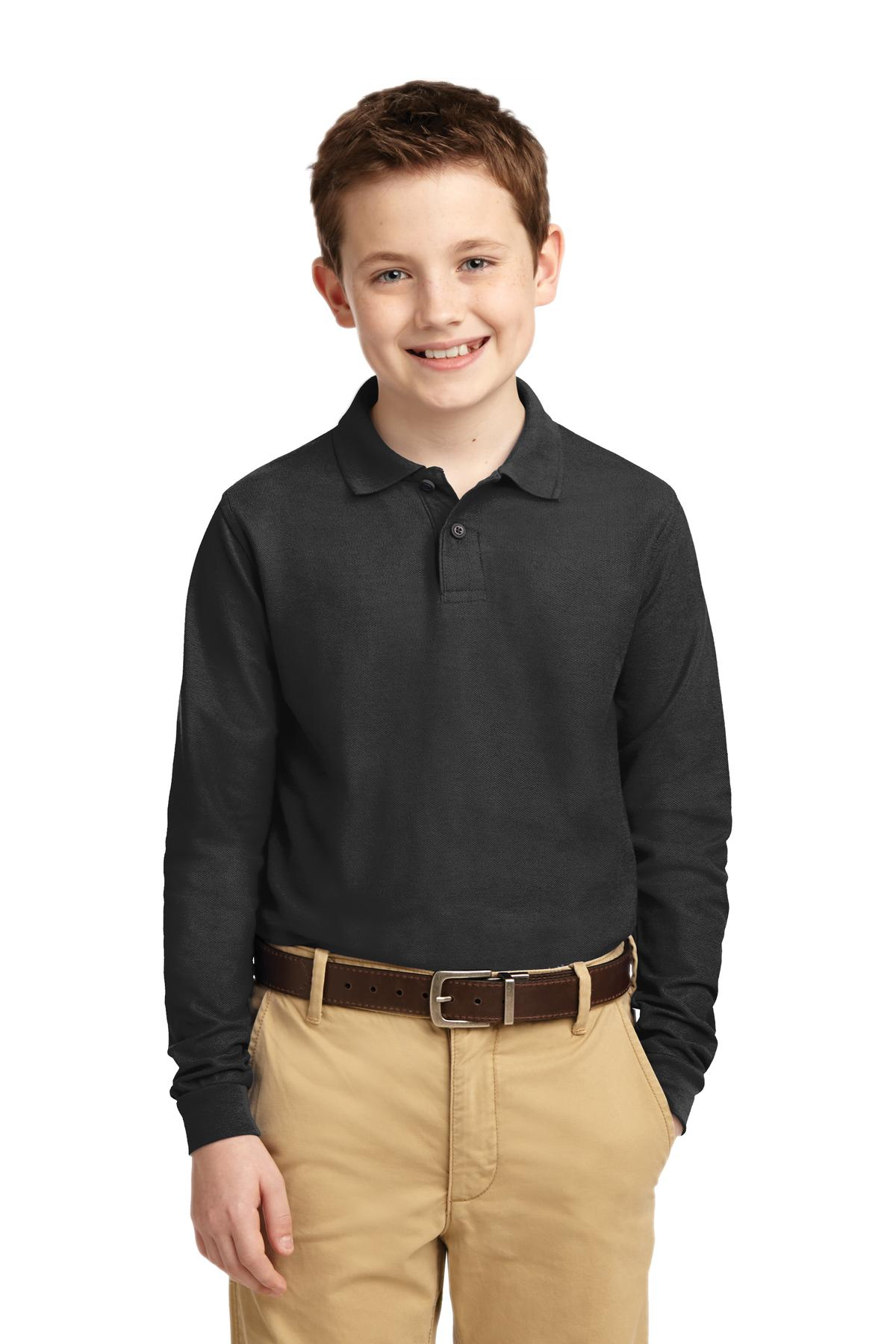 Port Authority ®  Youth Long Sleeve Silk Touch™ Polo.  Y500LS - Black