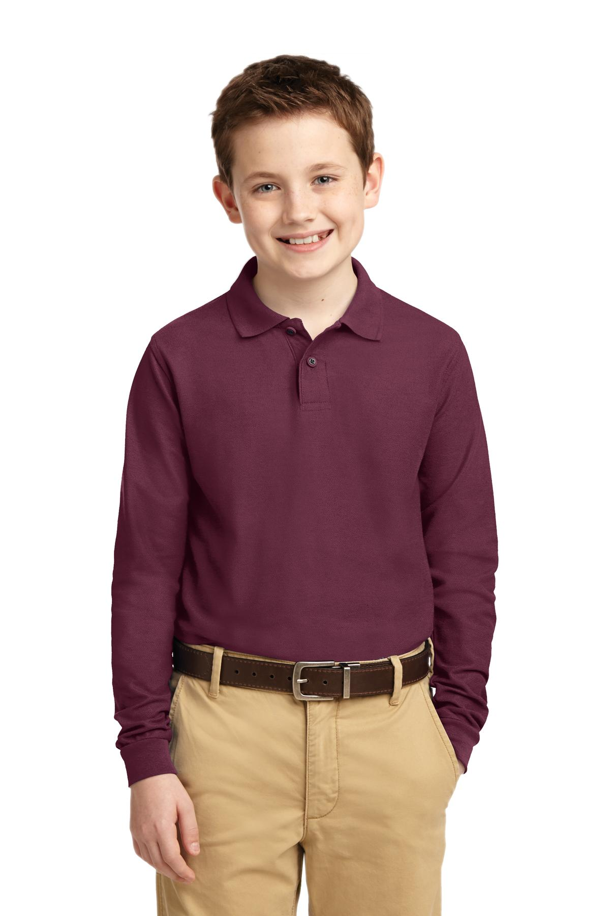 Port Authority ®  Youth Long Sleeve Silk Touch™ Polo.  Y500LS - Burgundy