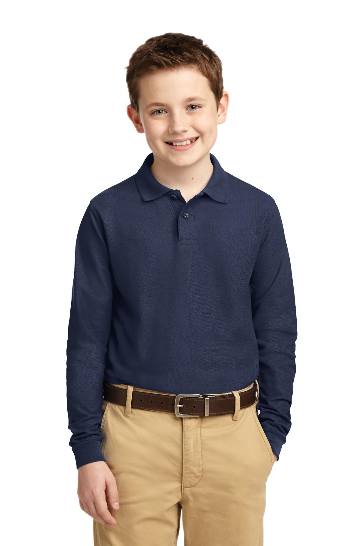 Port Authority ®  Youth Long Sleeve Silk Touch™ Polo.  Y500LS - Navy