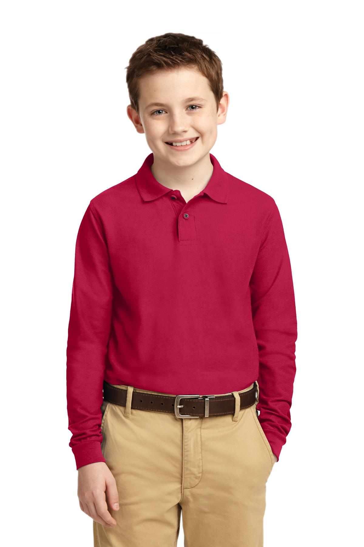 Port Authority ®  Youth Long Sleeve Silk Touch™ Polo.  Y500LS - Red