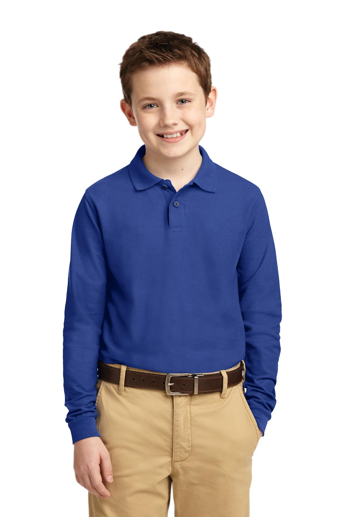 Port Authority ®  Youth Long Sleeve Silk Touch™ Polo.  Y500LS - Royal