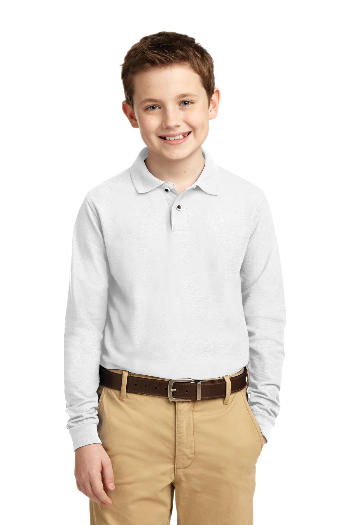 Port Authority ®  Youth Long Sleeve Silk Touch™ Polo.  Y500LS - White