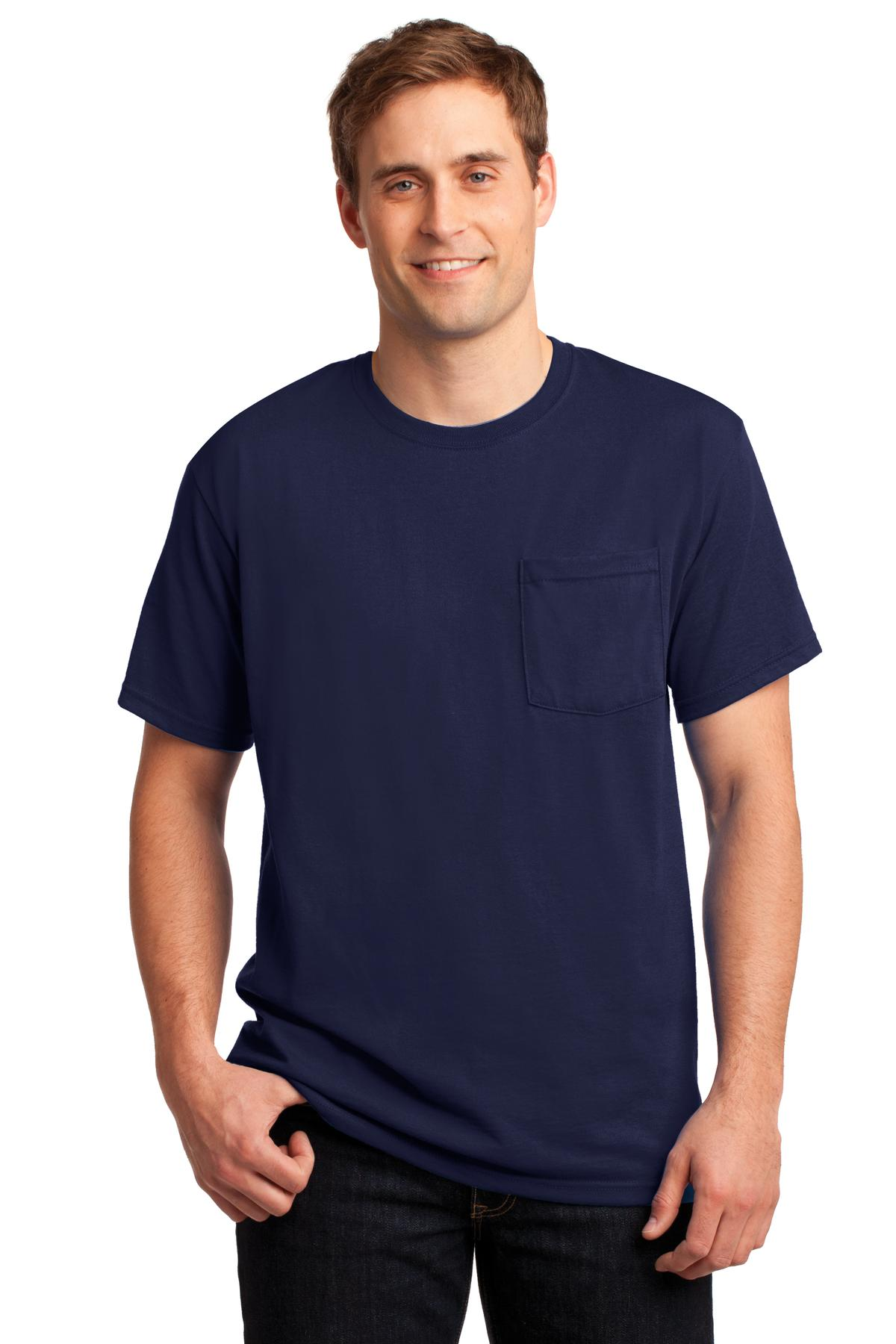 JERZEES ®  -  Dri-Power ®  50/50 Cotton/Poly Pocket T-Shirt.  29MP - Navy