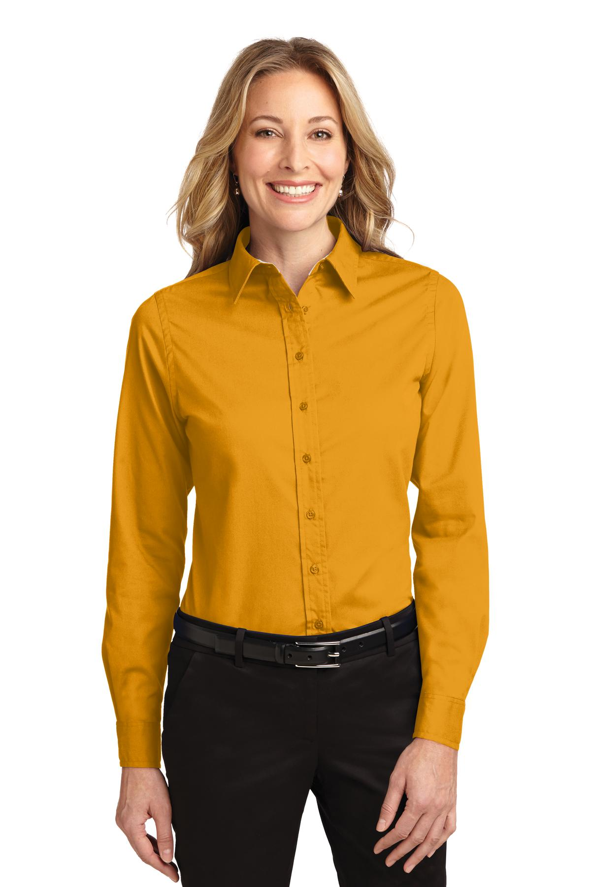Port Authority ®  Ladies Long Sleeve Easy Care Shirt.  L608 - Athletic Gold/ Light Stone