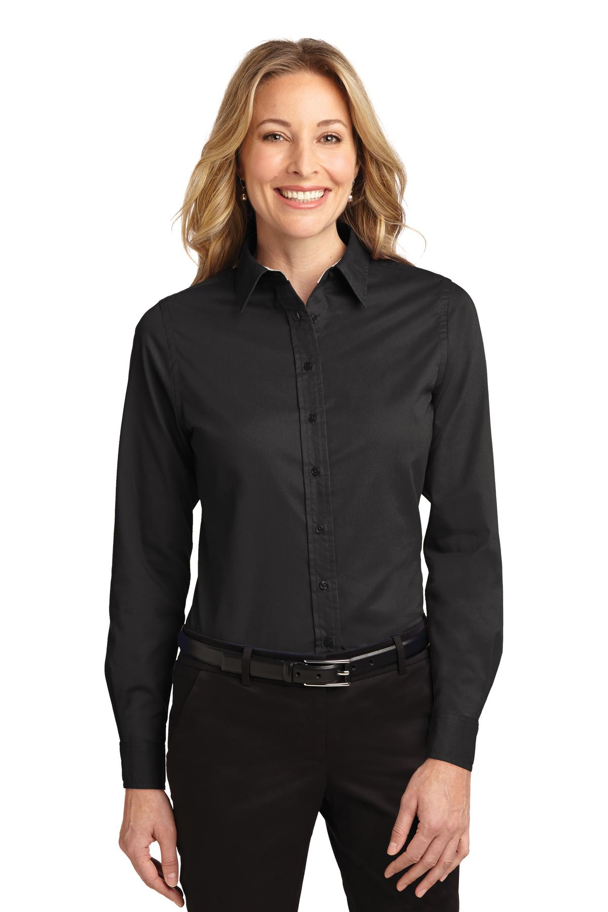 Port Authority ®  Ladies Long Sleeve Easy Care Shirt.  L608 - Black/ Light Stone