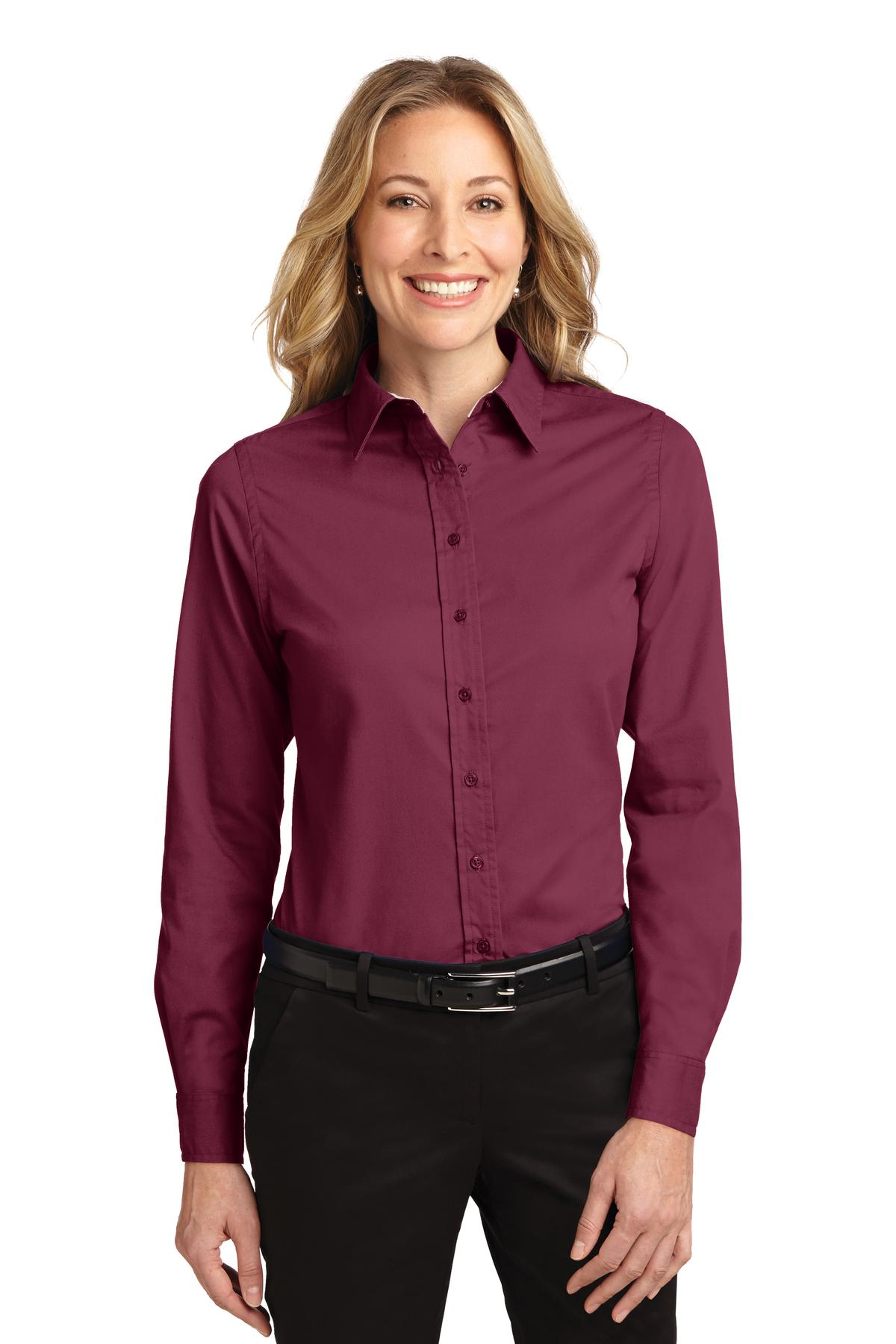 Port Authority ®  Ladies Long Sleeve Easy Care Shirt.  L608 - Burgundy/ Light Stone