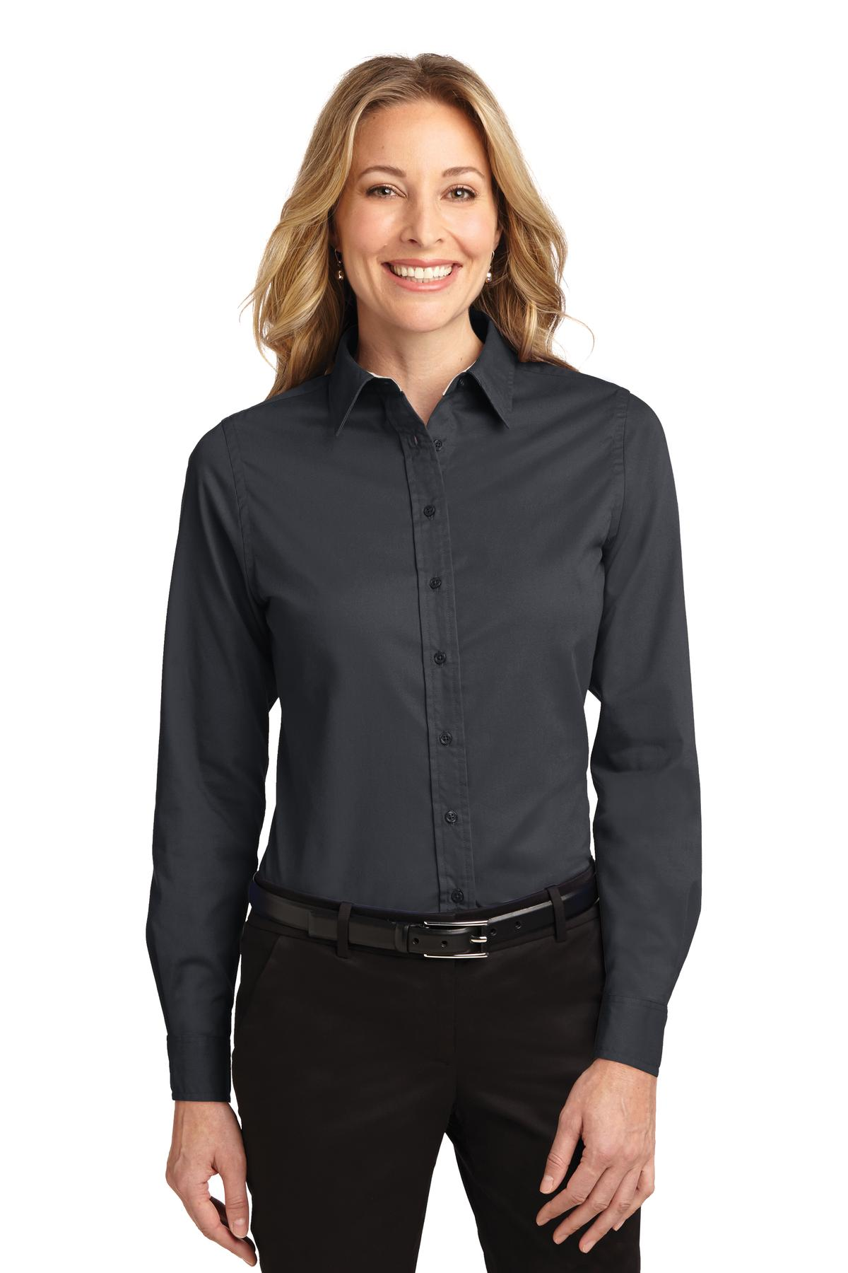 Port Authority ®  Ladies Long Sleeve Easy Care Shirt.  L608 - Classic Navy/ Light Stone