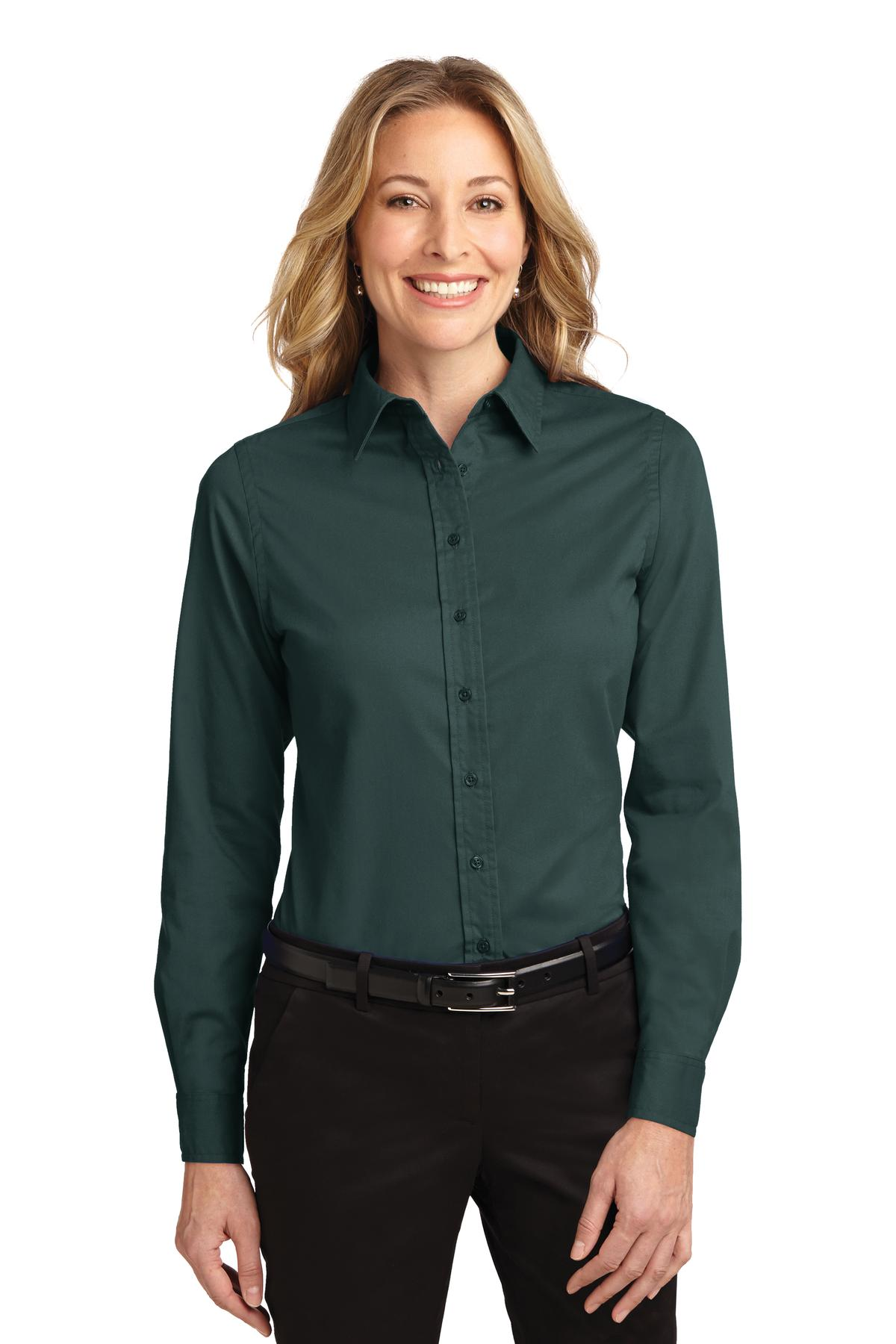Port Authority ®  Ladies Long Sleeve Easy Care Shirt.  L608 - Dark Green/ Navy