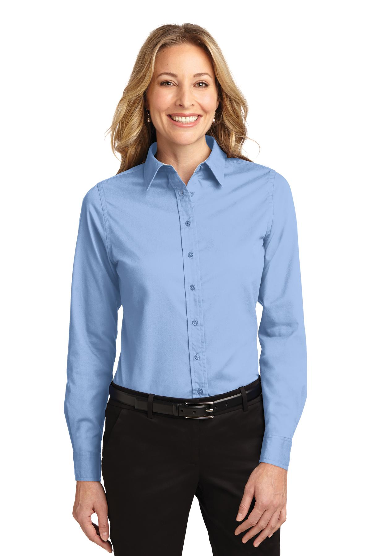 Port Authority ®  Ladies Long Sleeve Easy Care Shirt.  L608 - Light Blue/ Light Stone