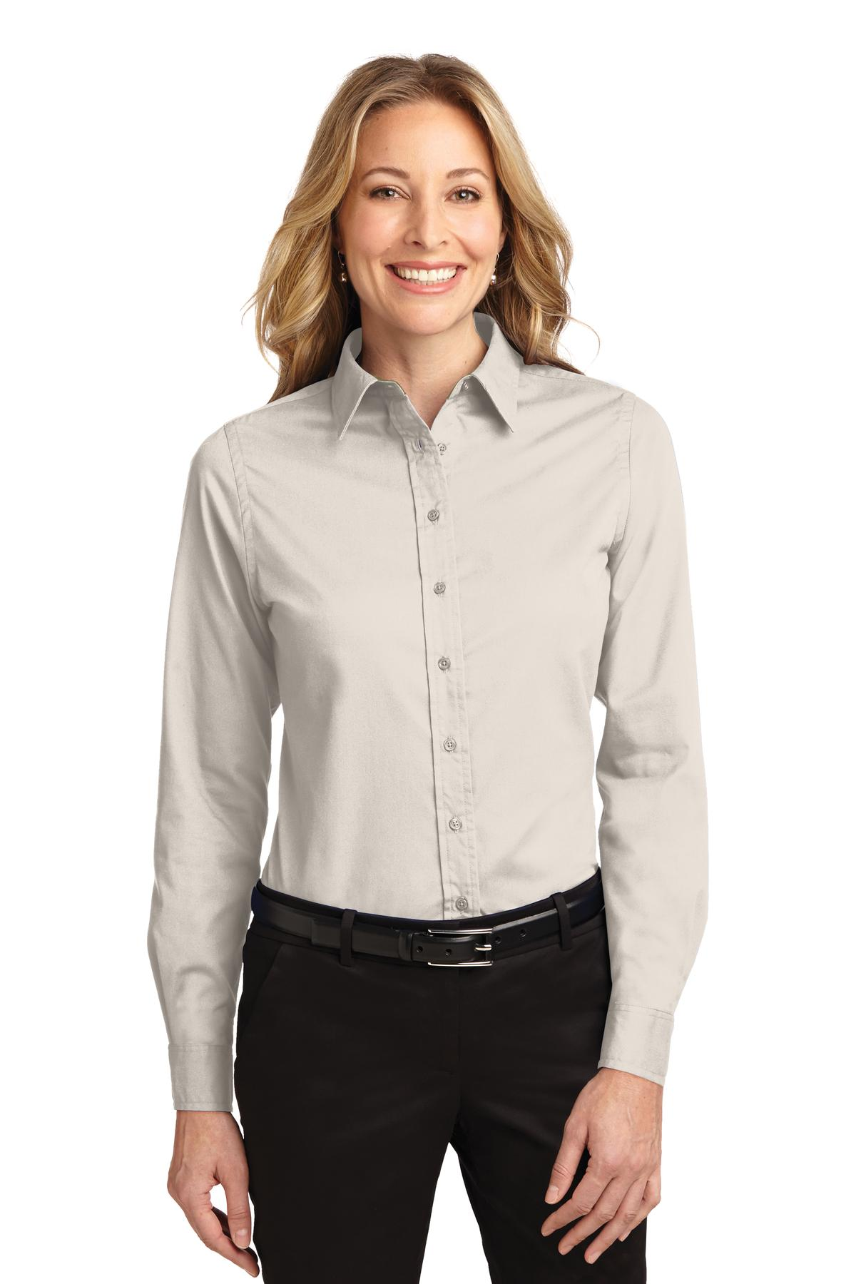 Port Authority ®  Ladies Long Sleeve Easy Care Shirt.  L608 - Light Stone/ Classic Navy